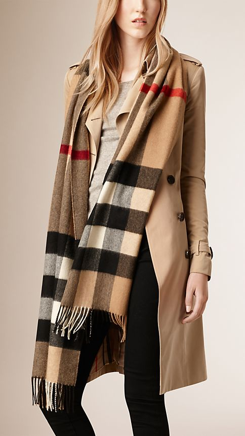 Camel check Giant Exploded Check Cashmere Scarf - Image 2