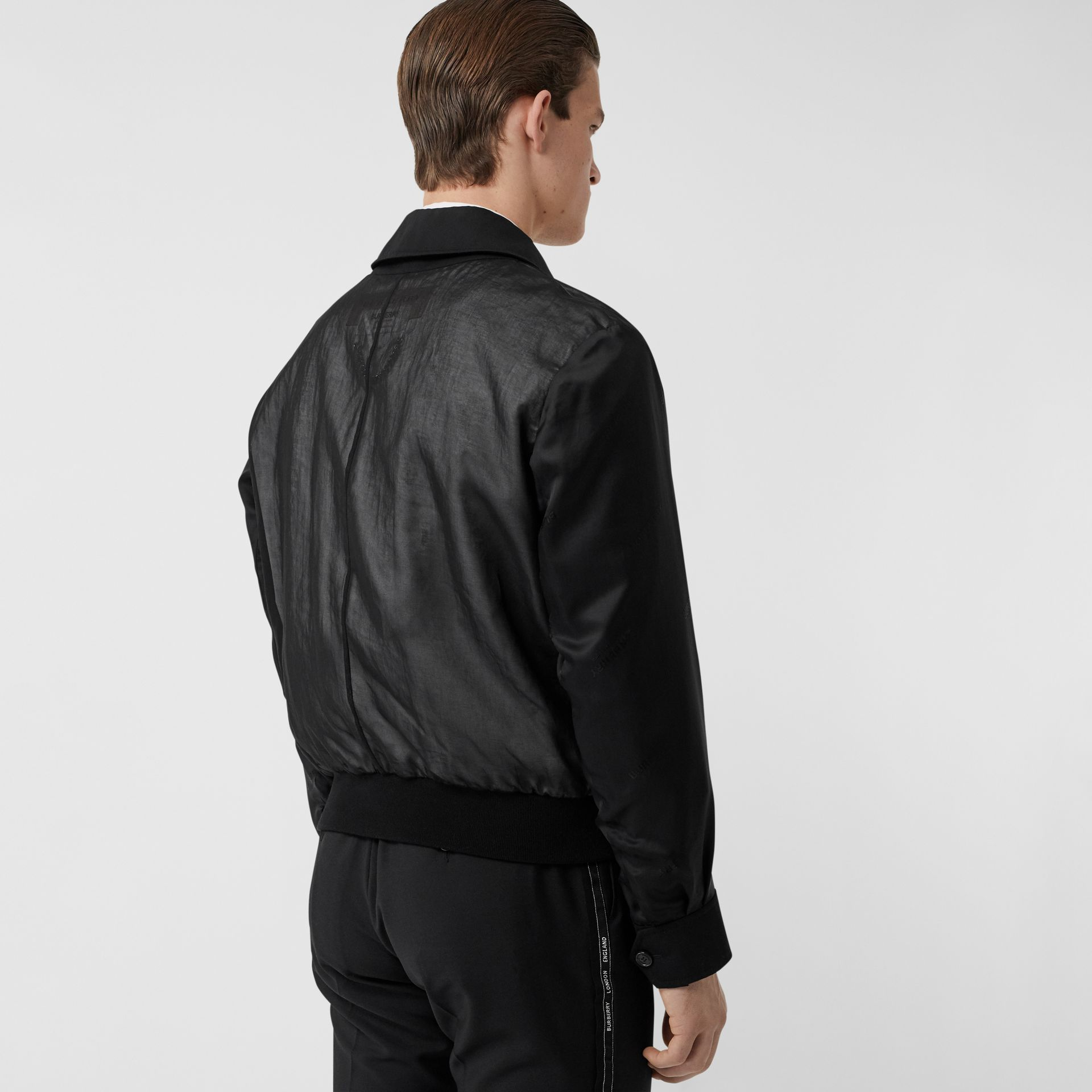 Logo Detail Panelled Cotton Blouson in Black - Men | Burberry Singapore - gallery image 2