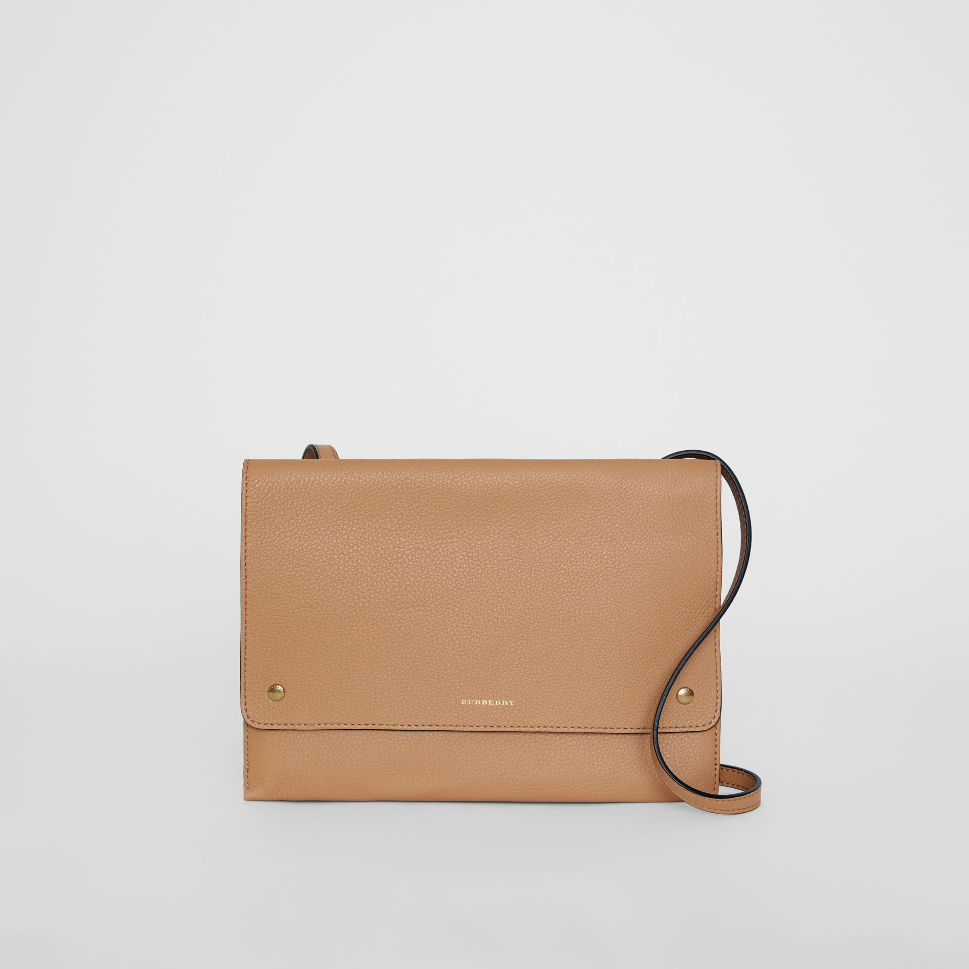 Leather Pouch with Detachable Strap in Light Camel - Women | Burberry United States - gallery image 0