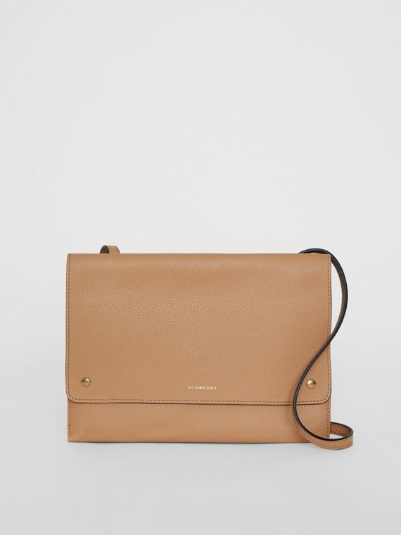Leather Pouch with Detachable Strap in Light Camel