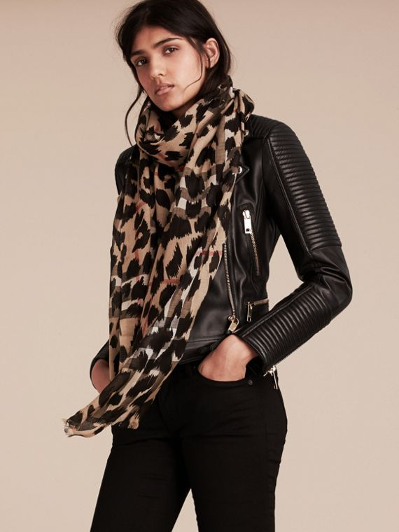Camel/black Animal Print and Check Wool Silk Scarf Camel/black - cell image 2