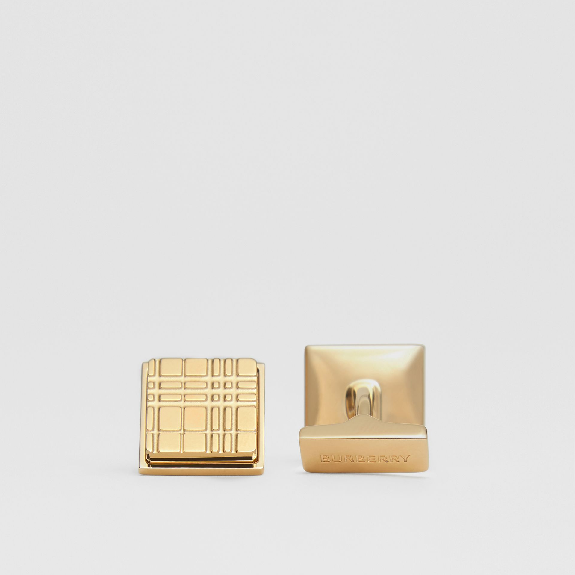 Gold-plated Check-engraved Square Cufflinks in Light - Men | Burberry - gallery image 1