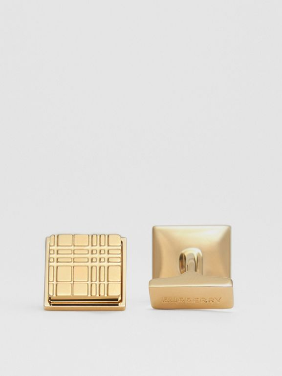 Gold-plated Check-engraved Square Cufflinks in Light - Men | Burberry - cell image 1