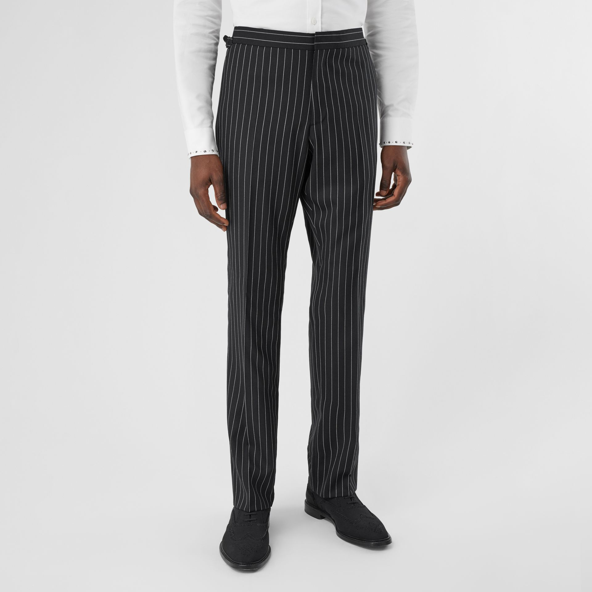 English Fit Pinstriped Wool Suit in Black - Men | Burberry United Kingdom - gallery image 5