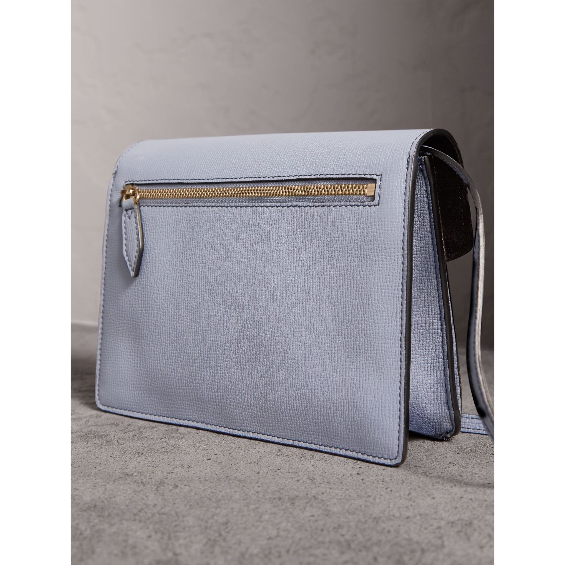 Small Leather and House Check Crossbody Bag in Slate Blue - Women | Burberry - gallery image 4