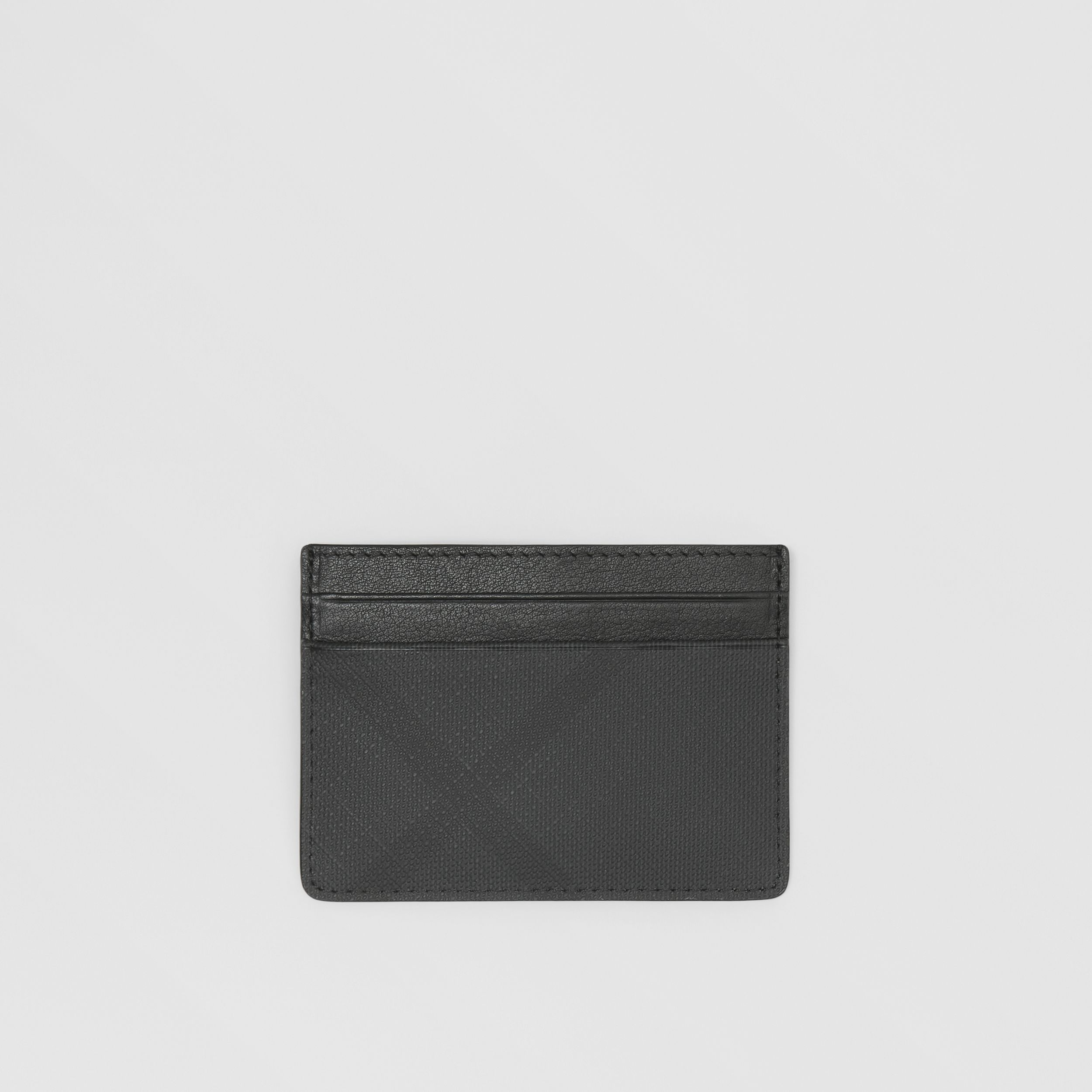 London Check and Leather Card Case in Dark Charcoal - Men | Burberry - 1
