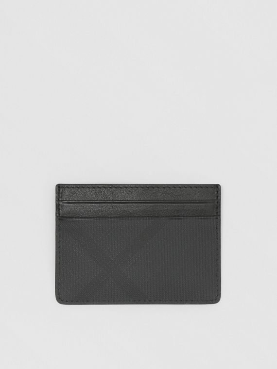 London Check and Leather Card Case in Dark Charcoal