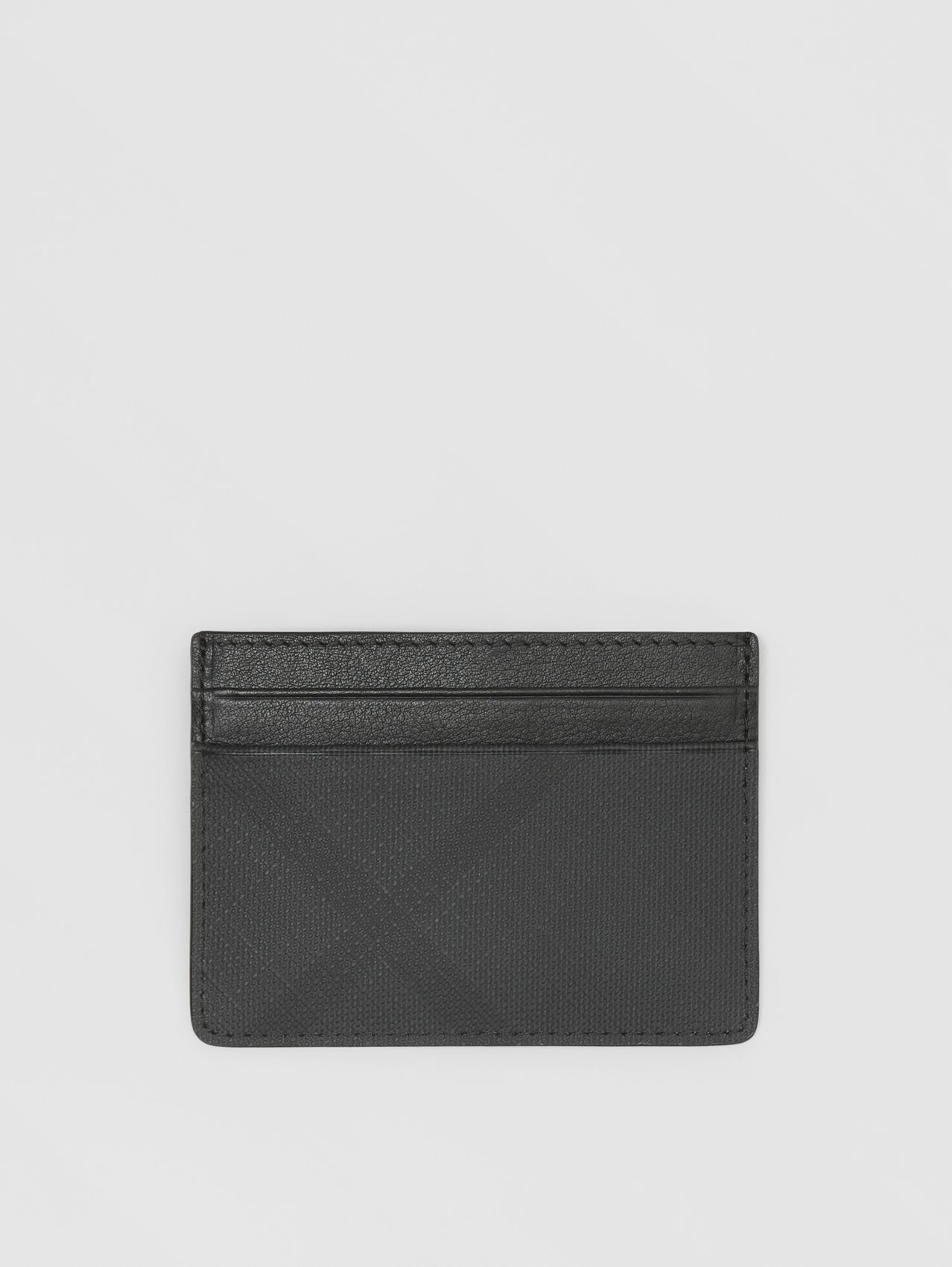Porte-cartes en tissu London check et cuir in Anthracite Sombre