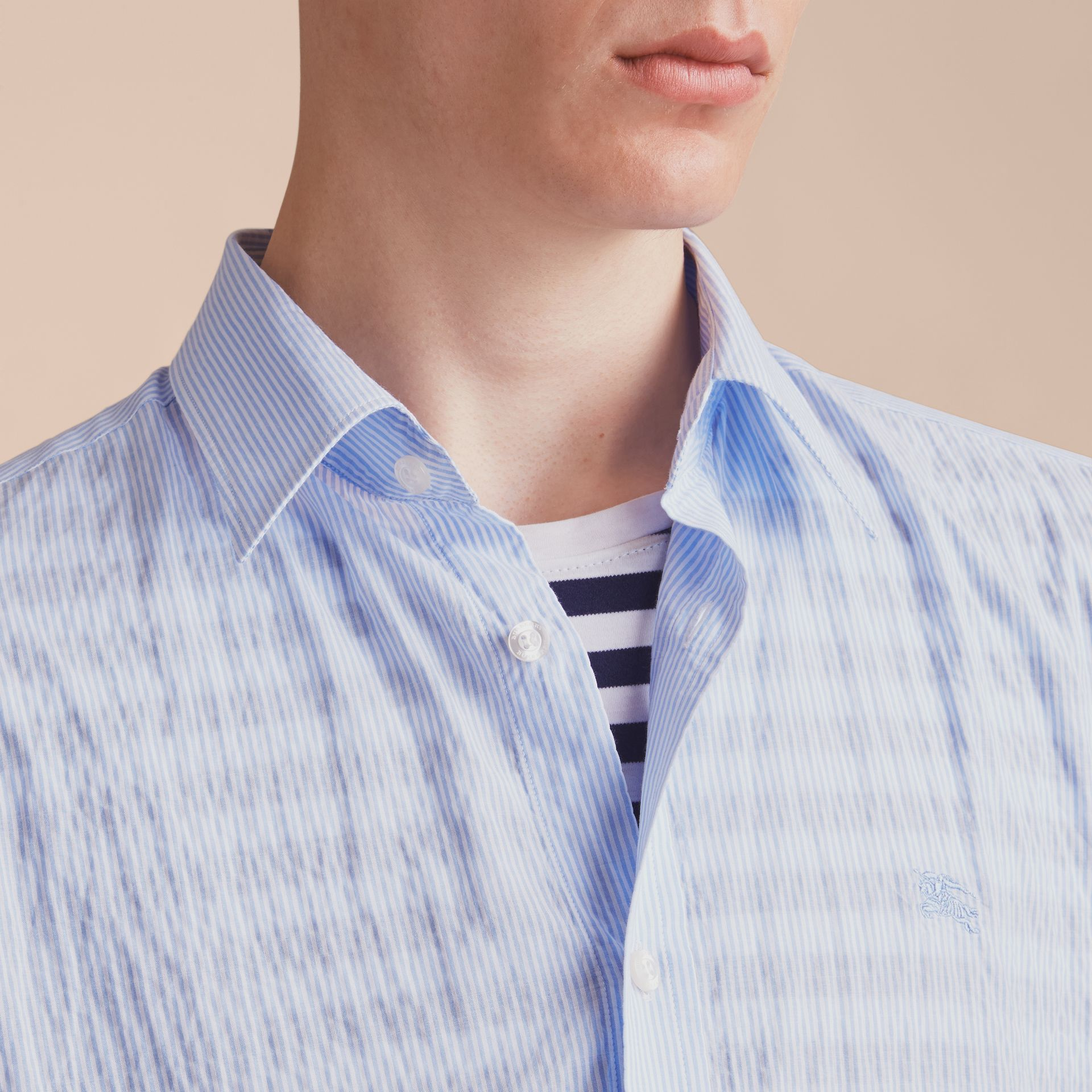 Striped Seersucker Stretch Cotton Shirt - gallery image 5