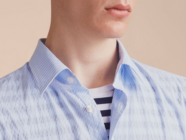 Striped Seersucker Stretch Cotton Shirt - cell image 4