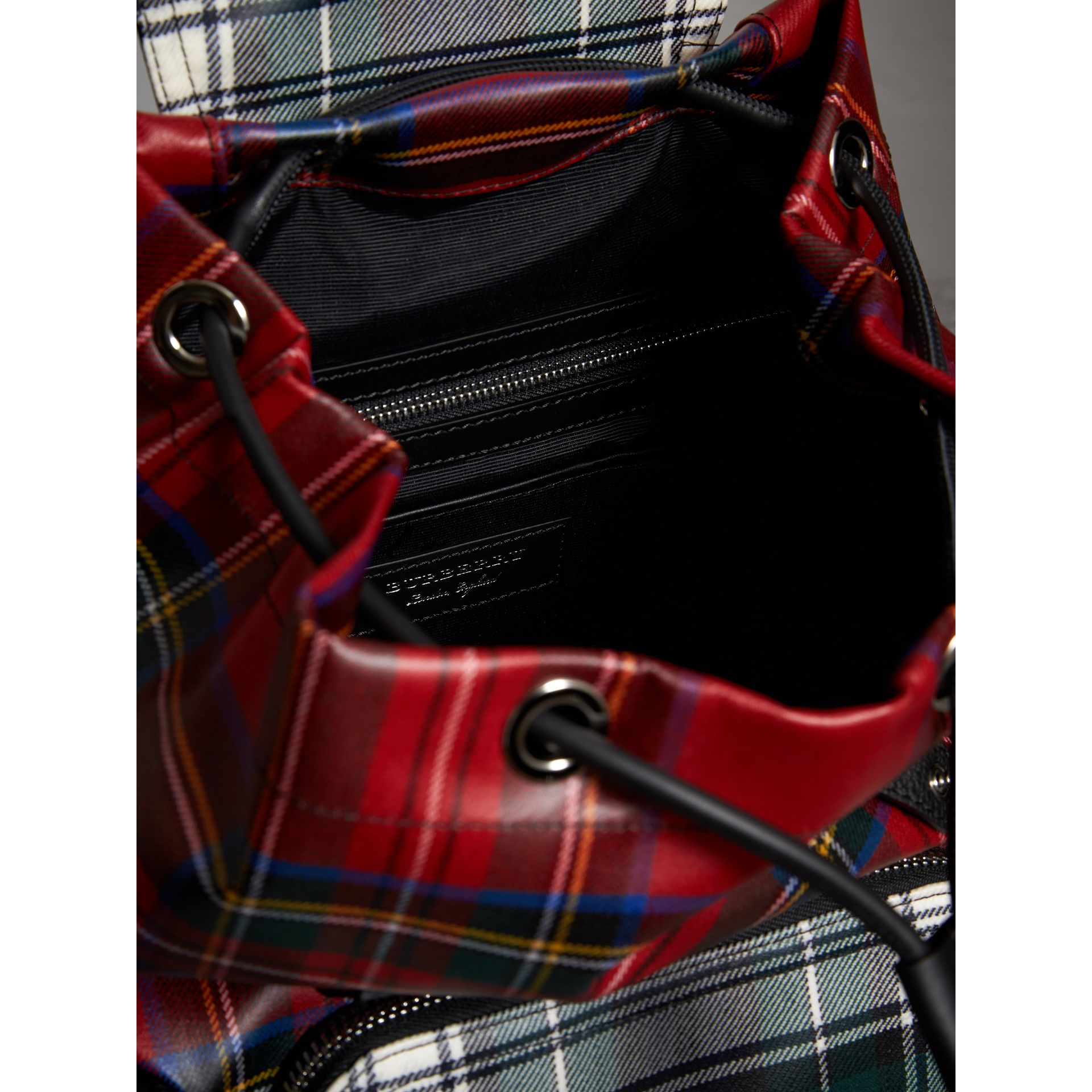The Medium Rucksack in Laminated Tartan in Military Red - Women | Burberry - gallery image 4