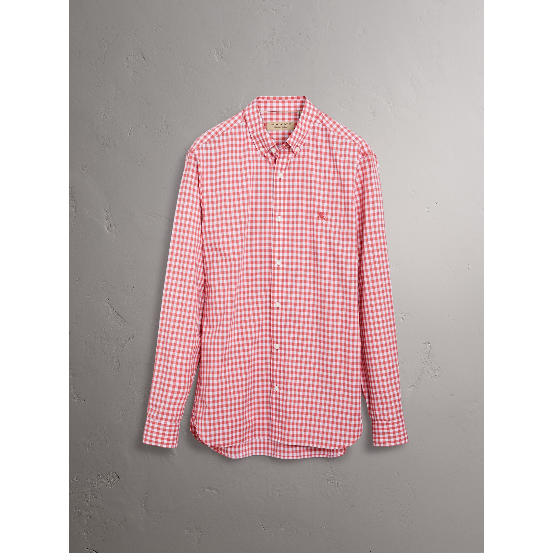 Button-down Collar Gingham Cotton Shirt in Pink Azalea - Men | Burberry United Kingdom - gallery image 3