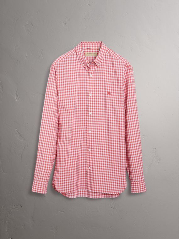 Button-down Collar Gingham Cotton Shirt in Pink Azalea