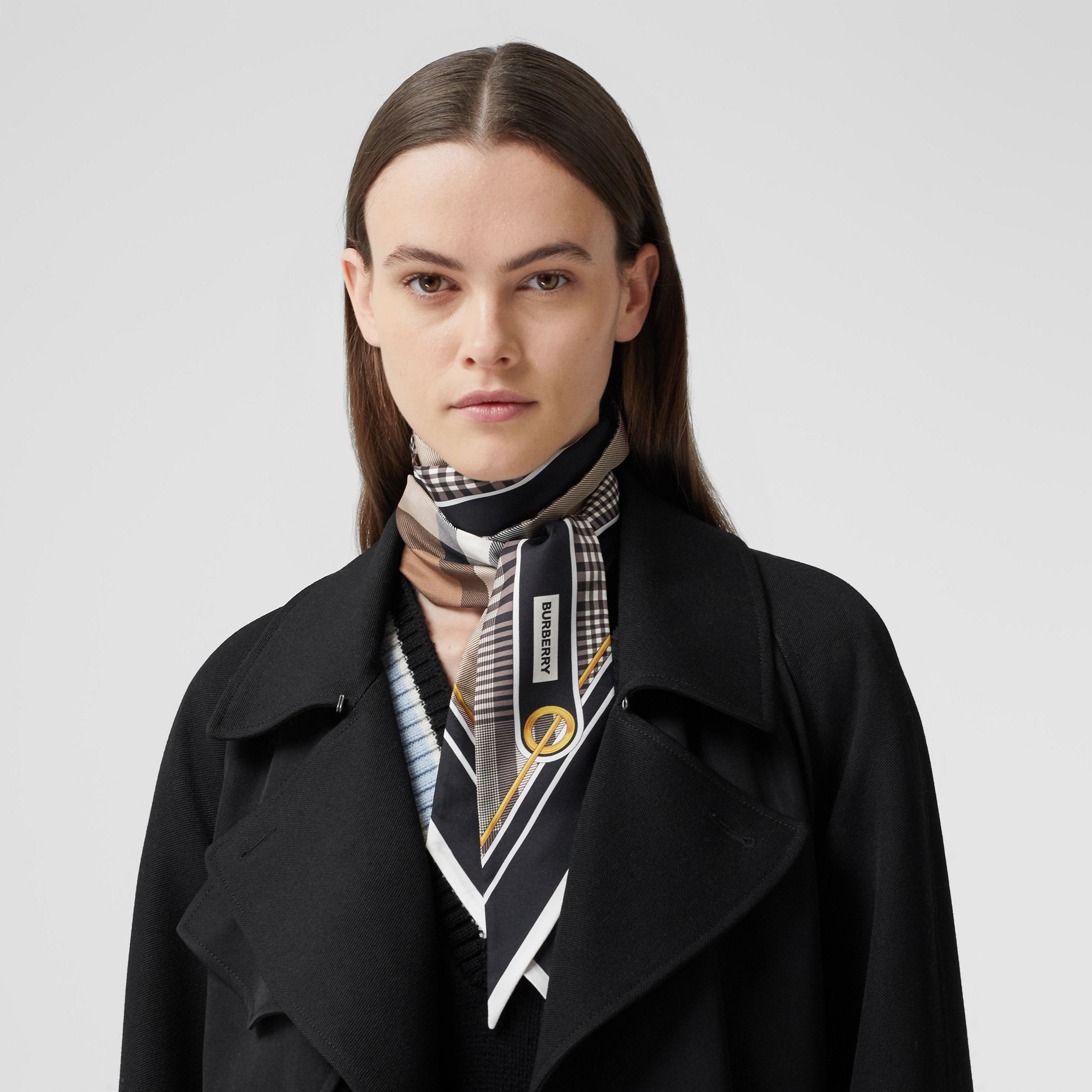 Check Print Silk Skinny Scarf in Black | Burberry - 3