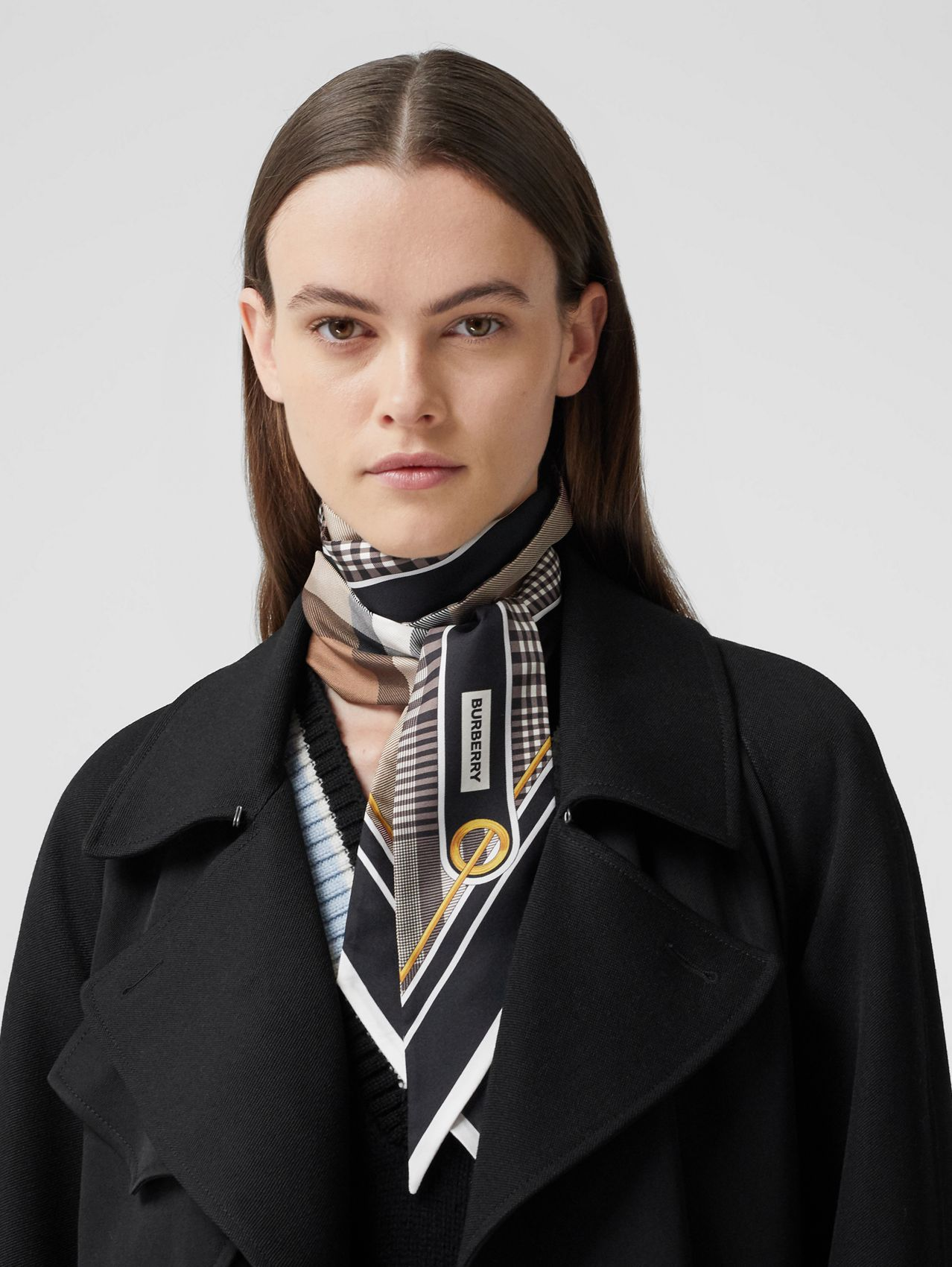 Check Print Silk Skinny Scarf in Black