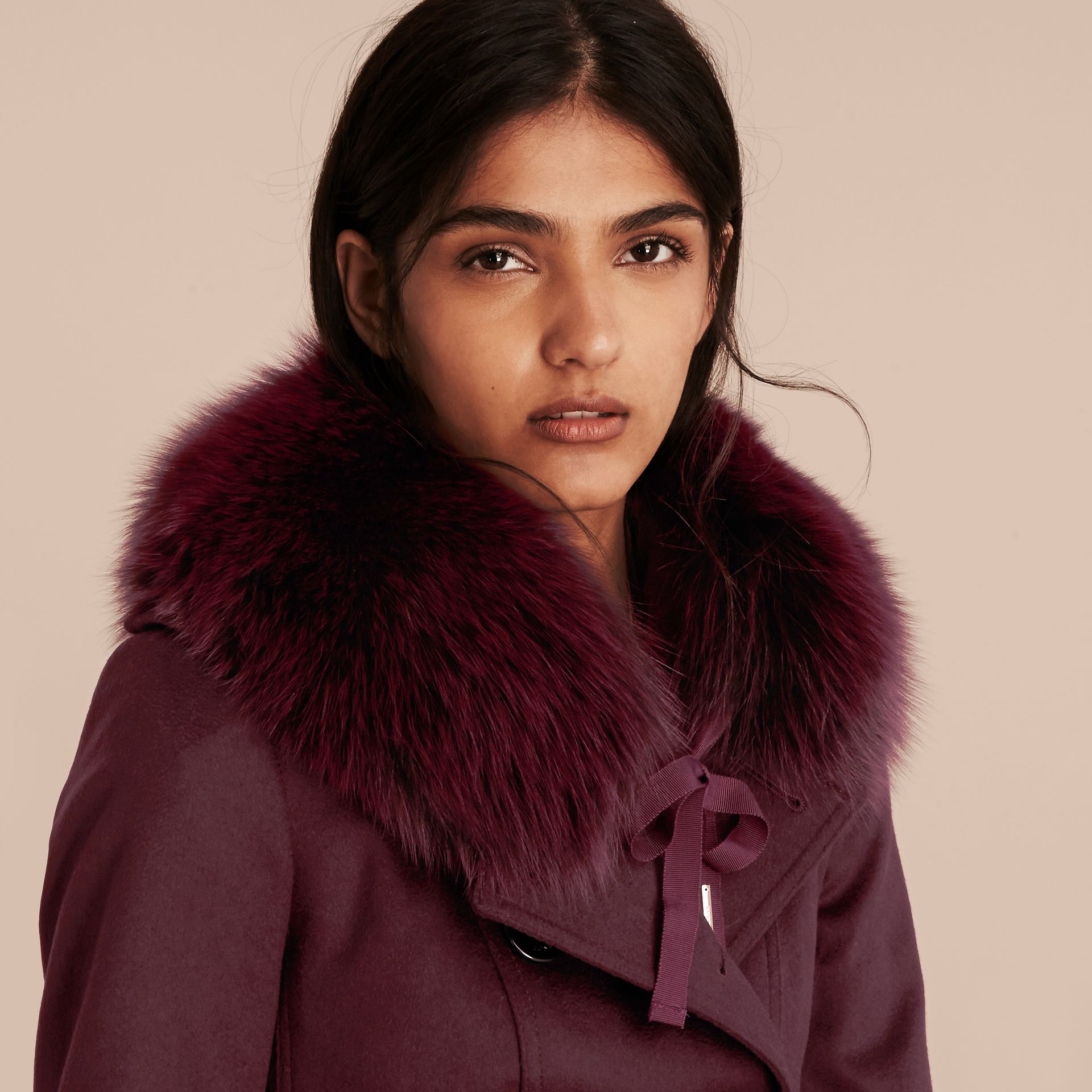 Fox Fur Collar with Check Cashmere Lining in Plum - Women | Burberry - gallery image 3
