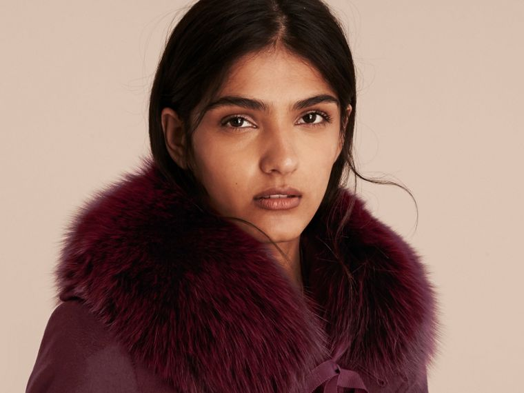 Fox Fur Collar with Check Cashmere Lining in Plum - Women | Burberry Canada - cell image 2