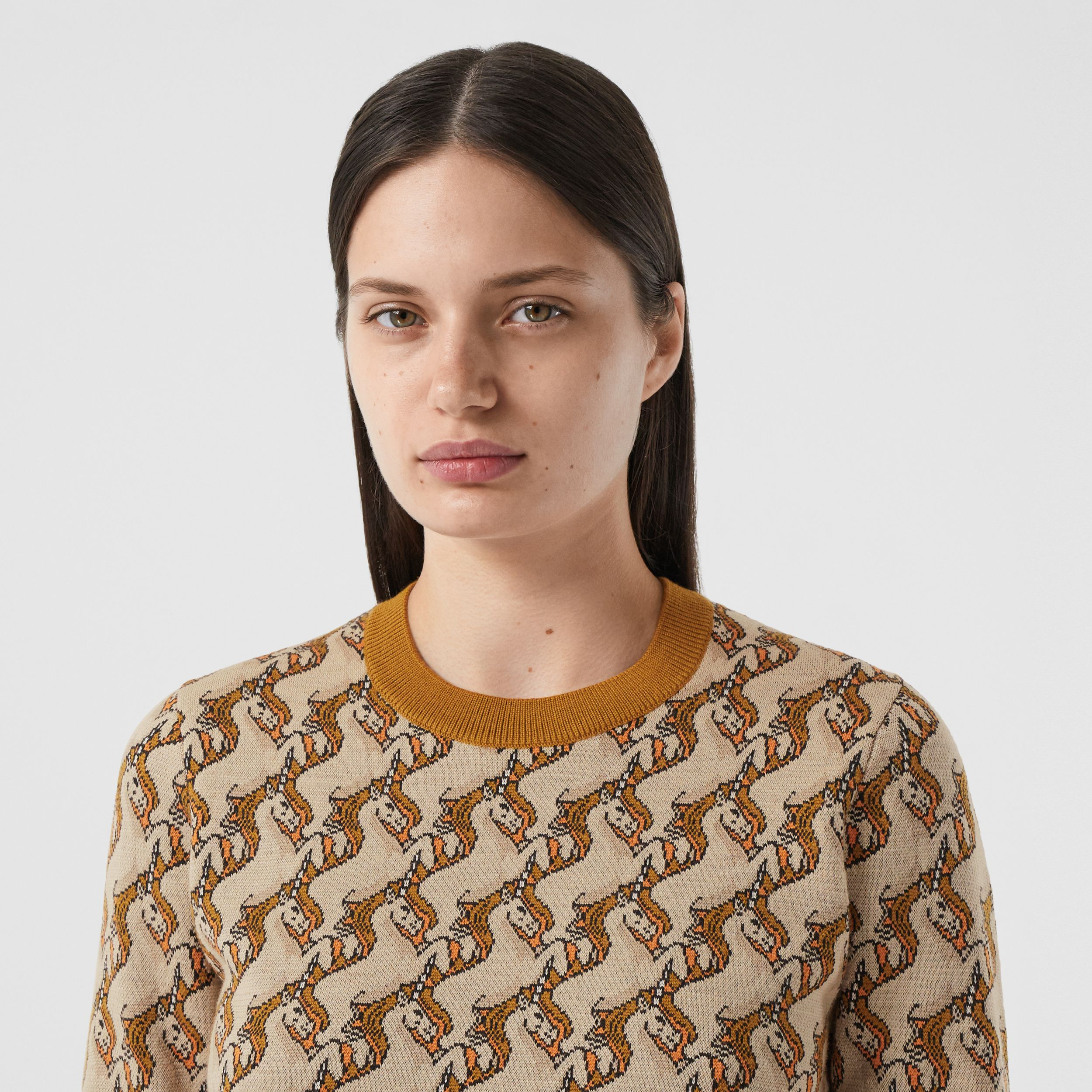 Unicorn Merino Wool Blend Jacquard Sweater in Ecru - Women | Burberry - 2