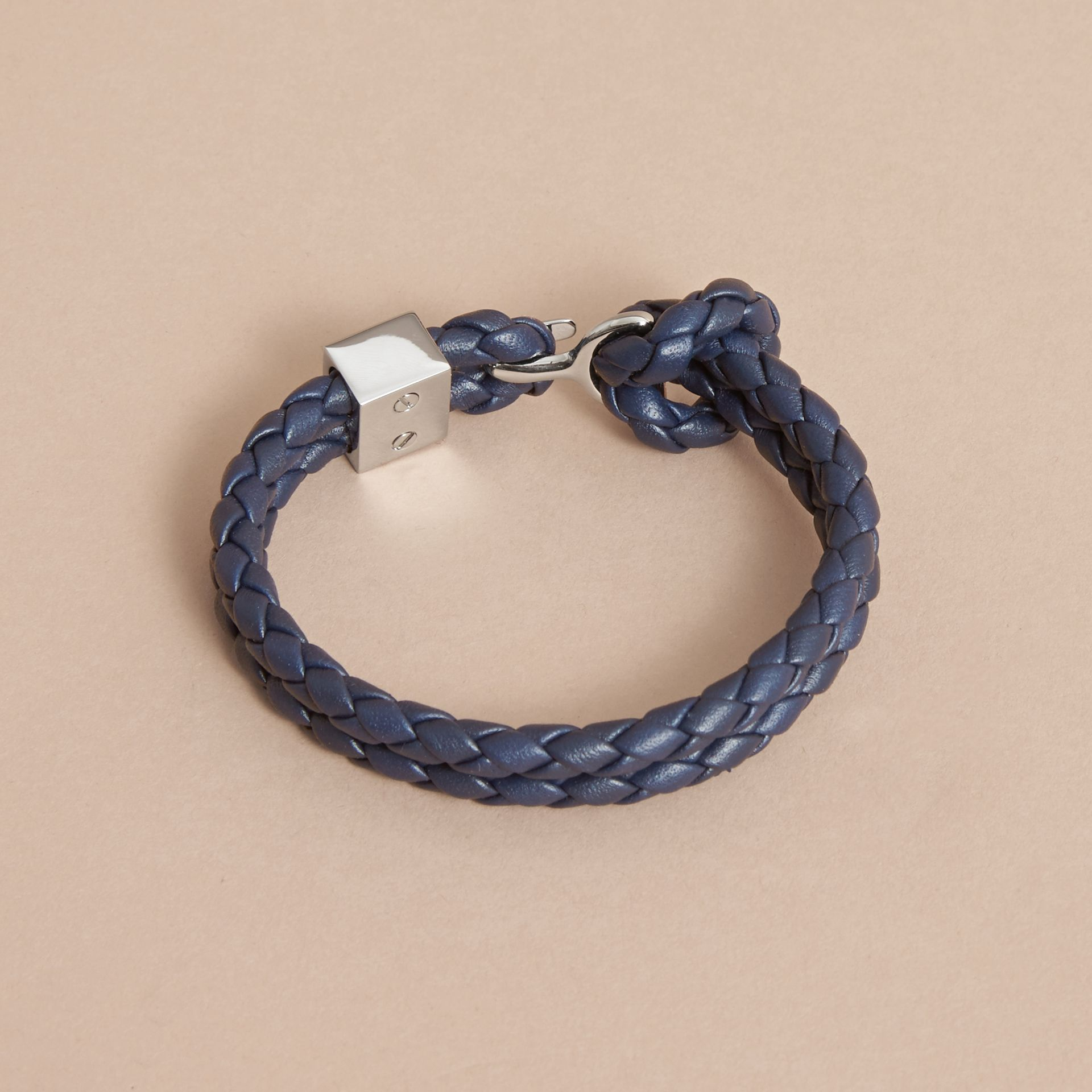 Braided Leather Bracelet Navy - gallery image 3