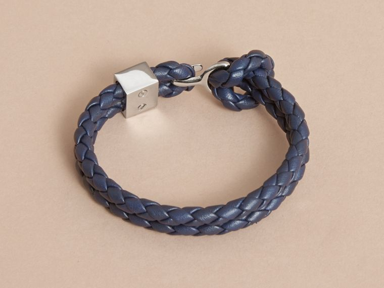 Braided Leather Bracelet Navy - cell image 2