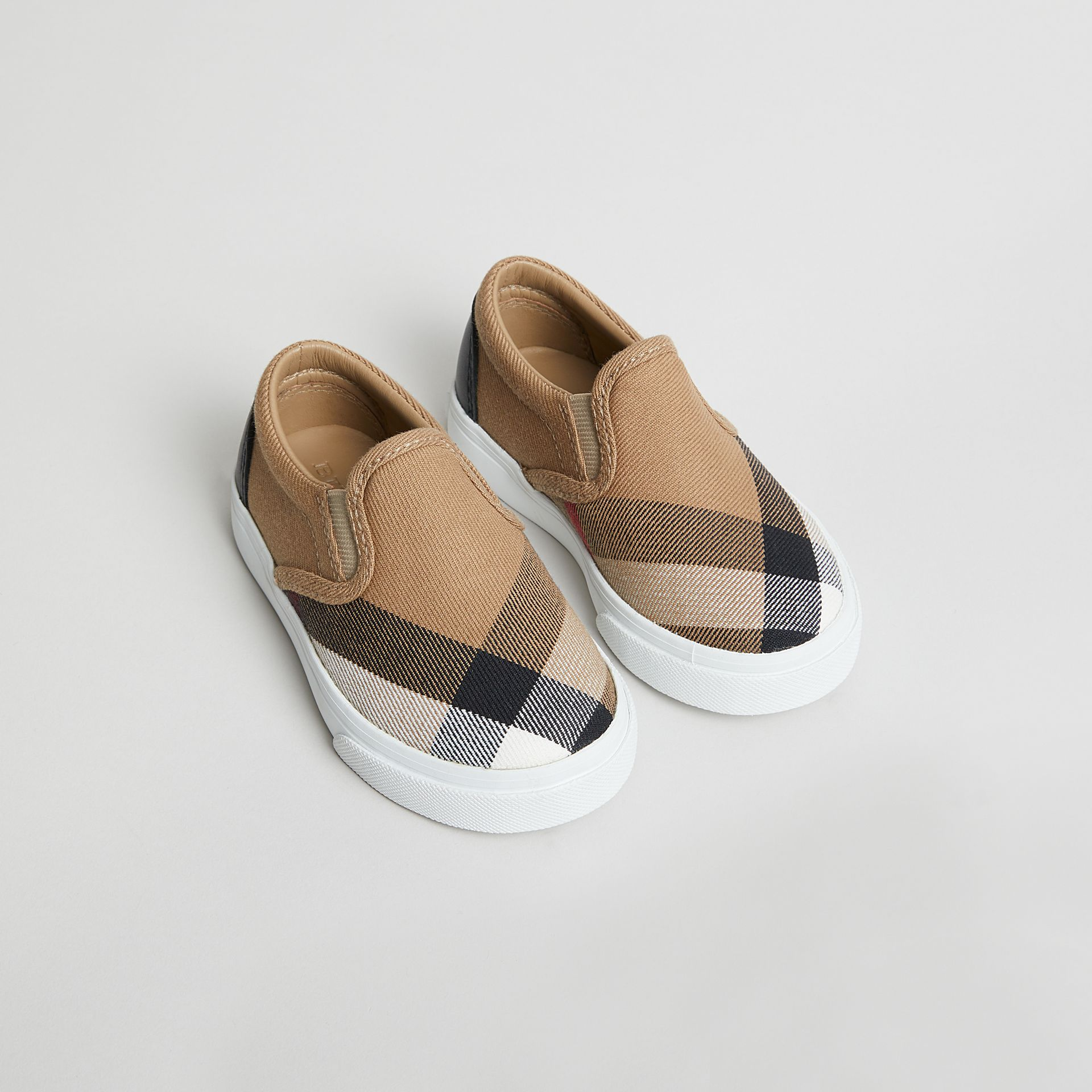 House Check and Leather Slip-on Sneakers in Classic/optic White | Burberry United States - gallery image 0