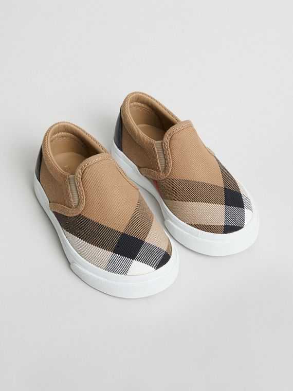 House Check and Leather Slip-on Sneakers in Classic/optic White