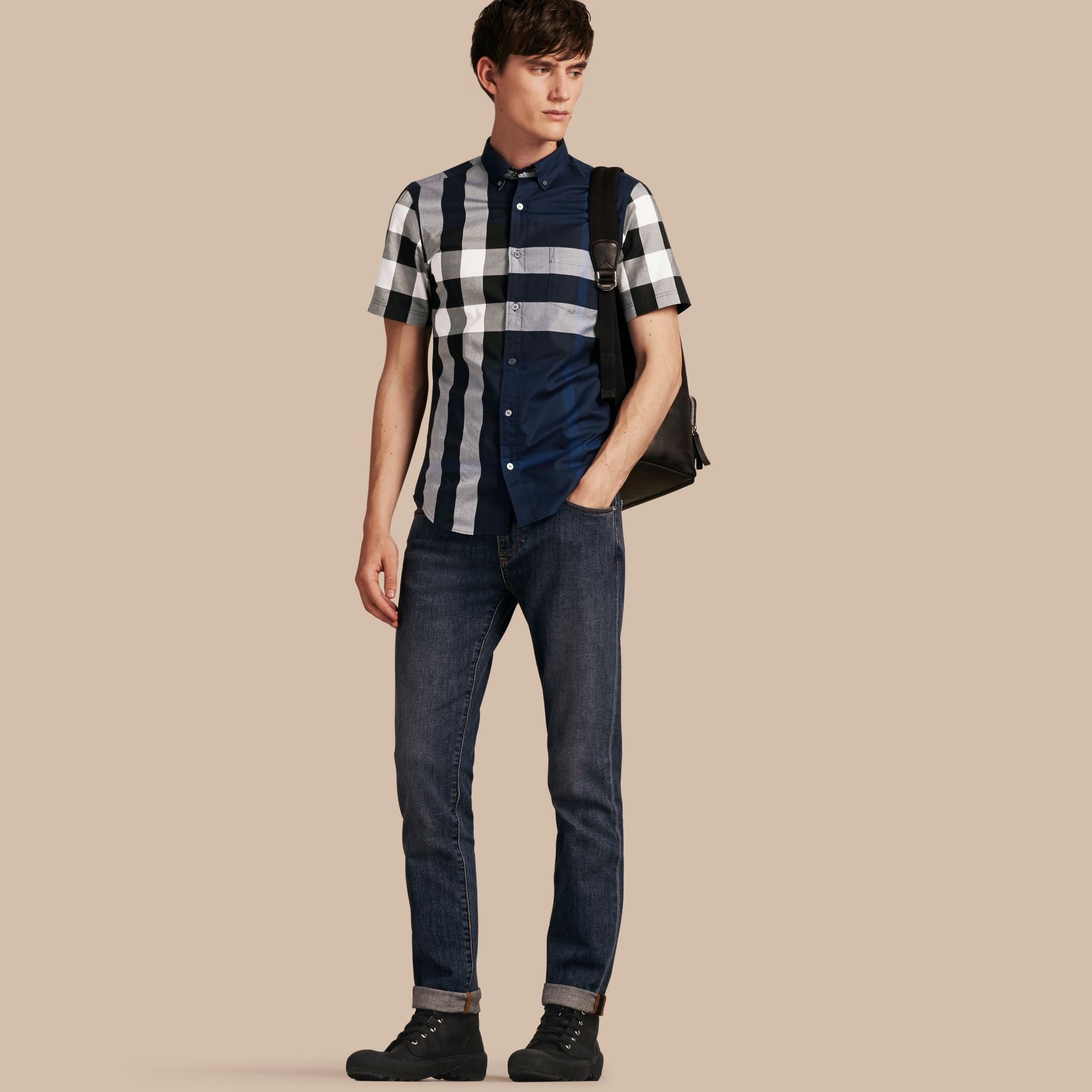 Indigo blue Short-sleeved Check Cotton Shirt Indigo Blue - gallery image 1