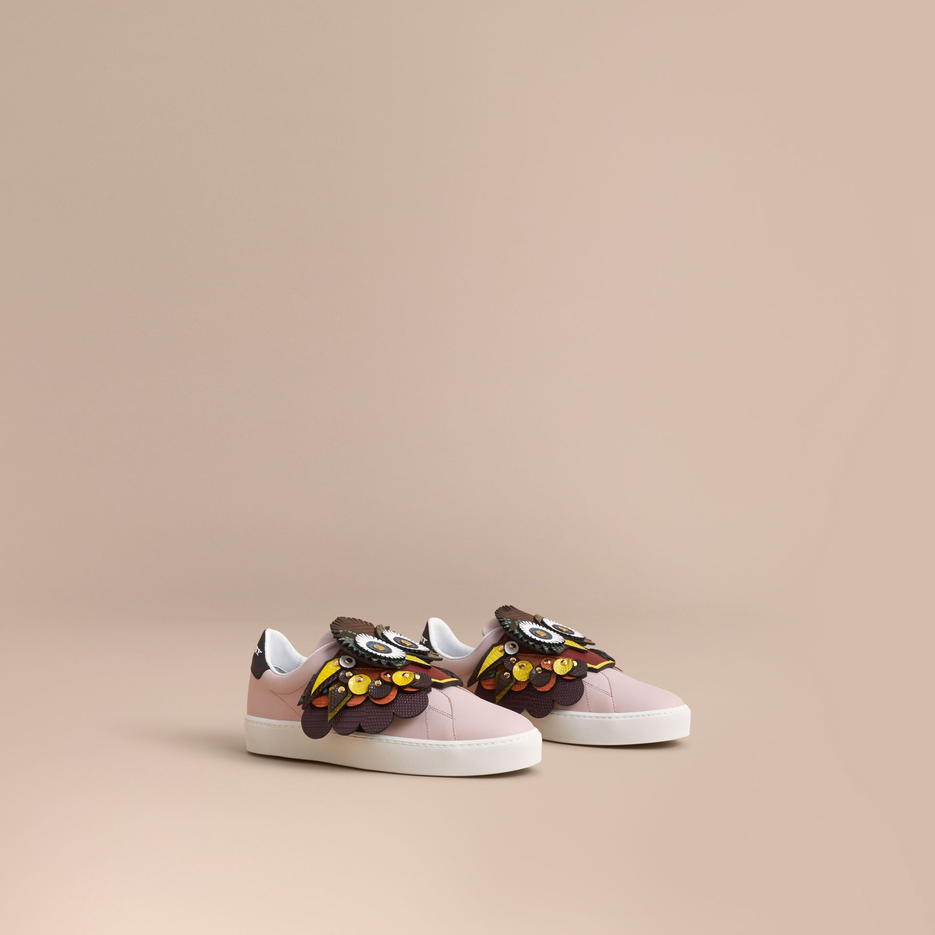 Beasts Motif Leather Slip-on Trainers in Ivory Pink - Women | Burberry - gallery image 1