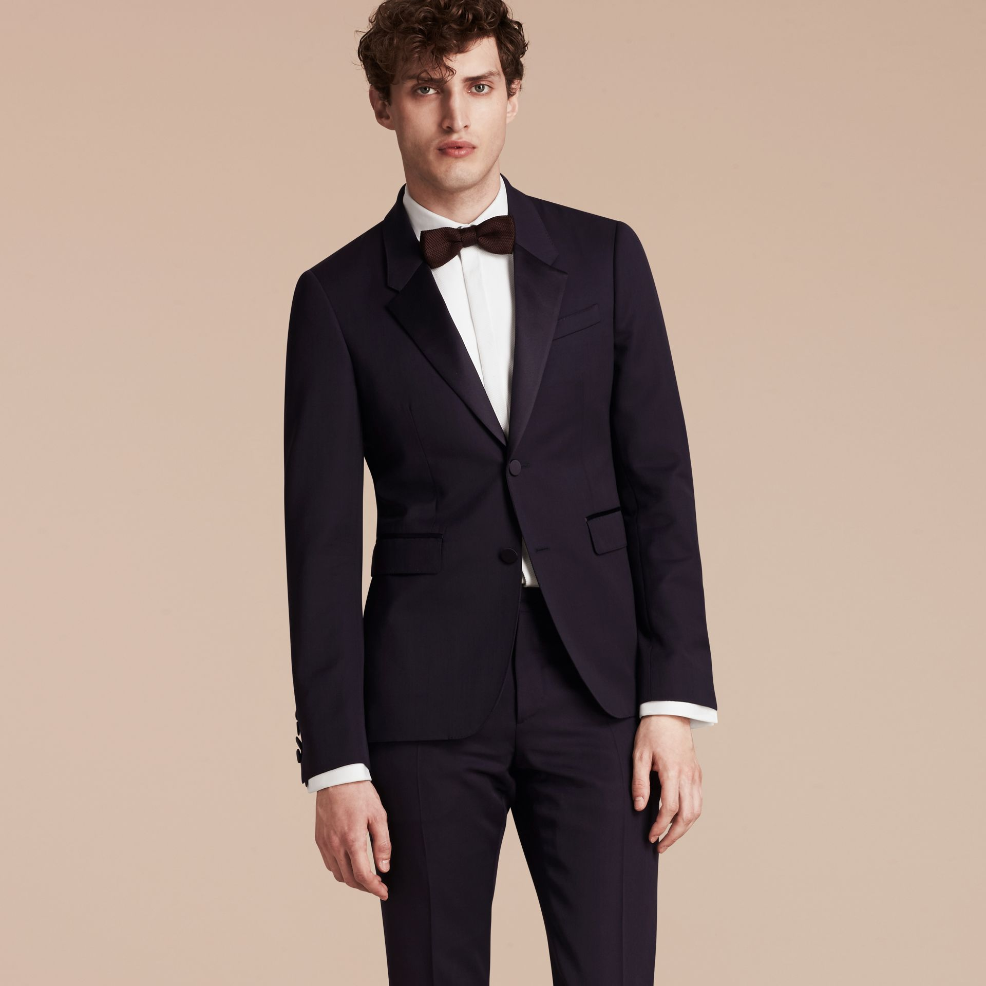 Dark navy Slim Fit Wool Tuxedo Jacket - gallery image 8