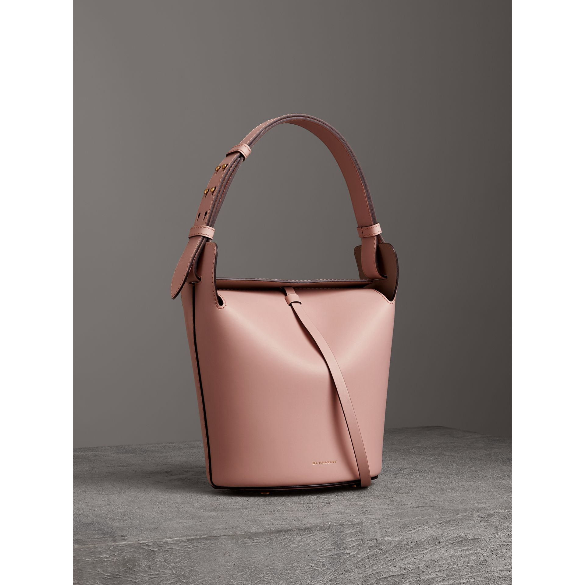 The Small Leather Bucket Bag in Pale Ash Rose - Women | Burberry United Kingdom - gallery image 5