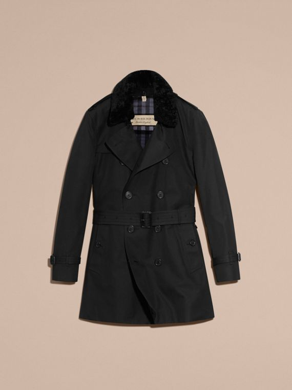 Black Detachable Shearling Topcollar Cotton Gabardine Trench Coat with Warmer Black - cell image 3