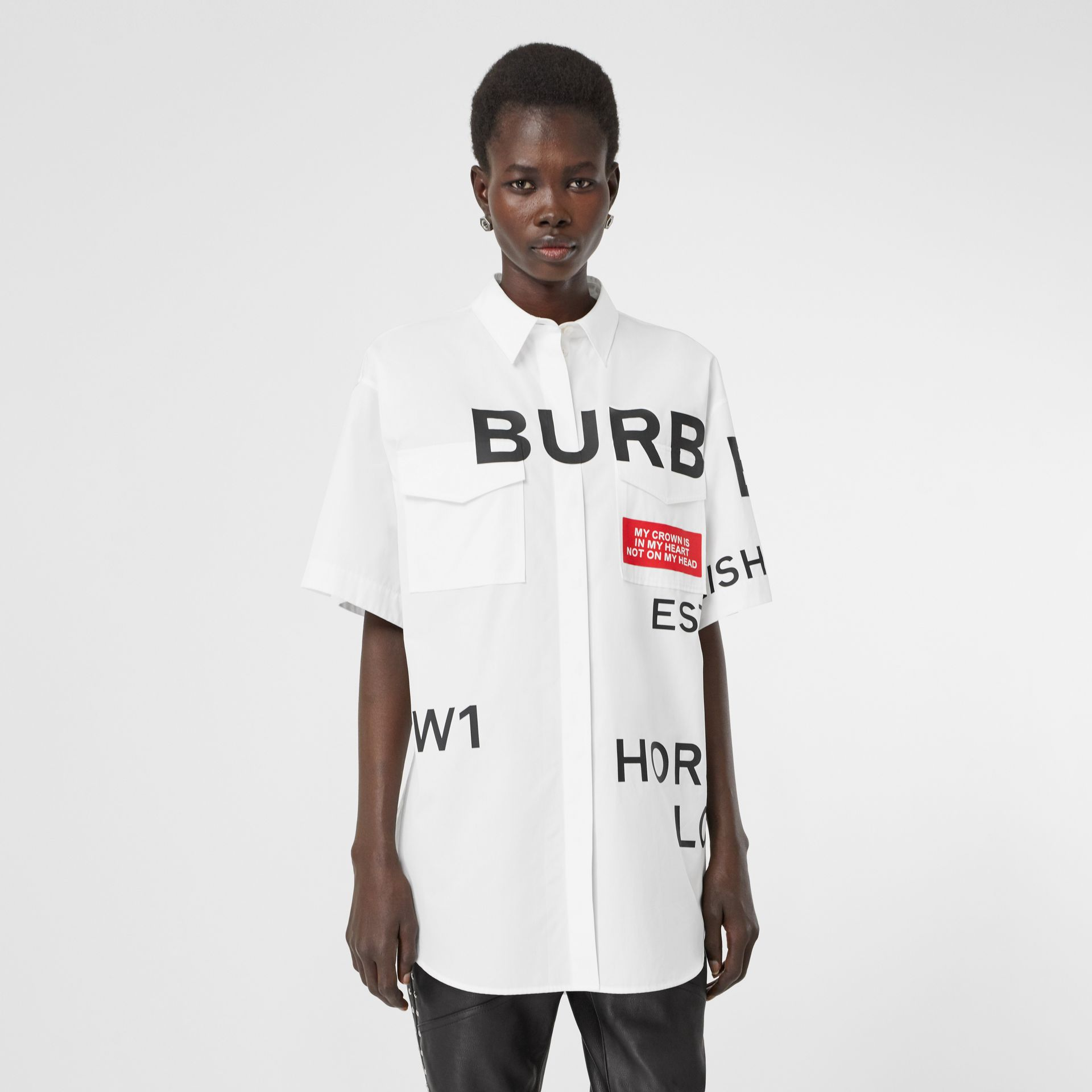Short-sleeve Horseferry Print Cotton Oversized Shirt in White - Women | Burberry United Kingdom - gallery image 3