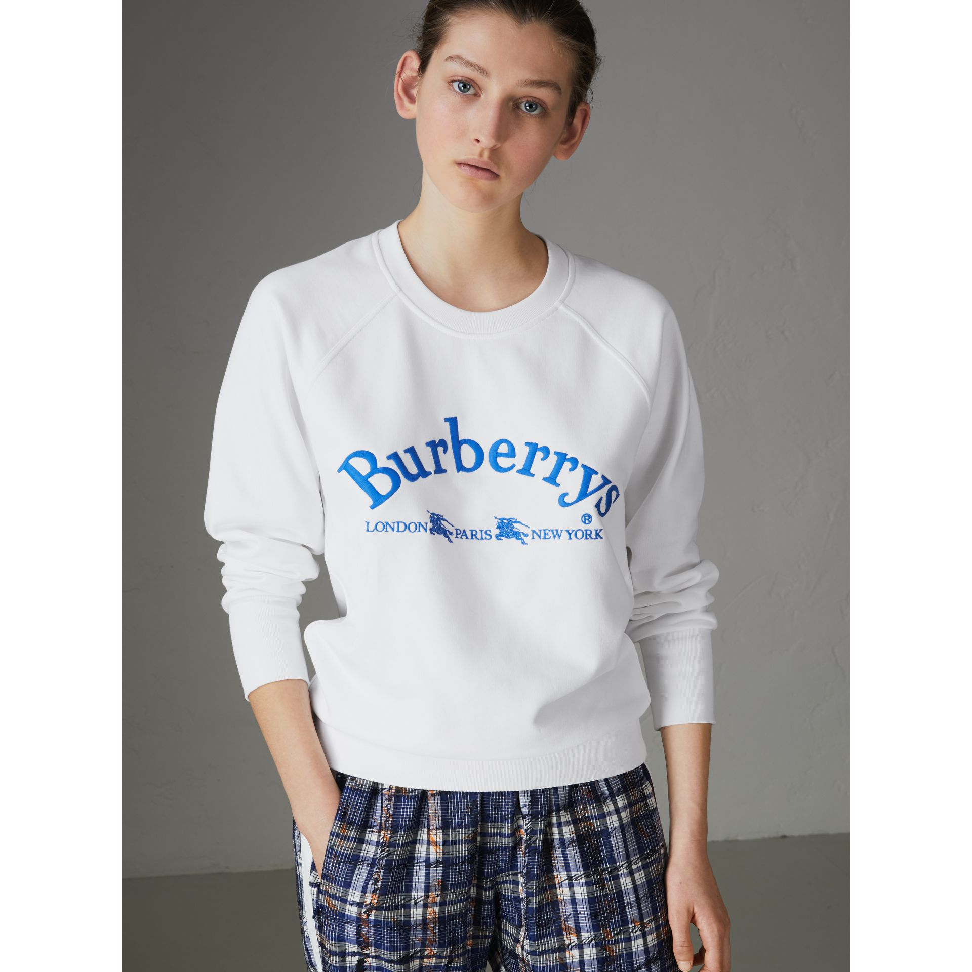 Sweat-shirt en jersey avec logo d'archive brodé (Blanc) - Femme | Burberry - photo de la galerie 4