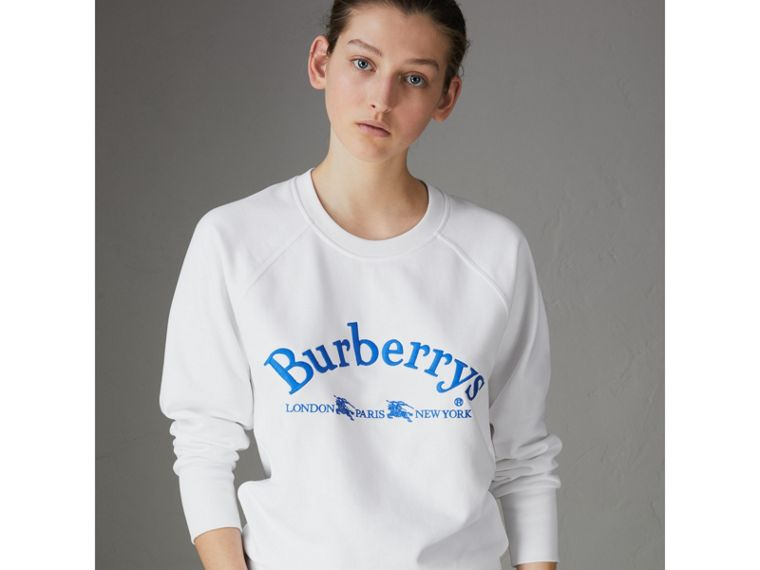 Embroidered Archive Logo Jersey Sweatshirt in White - Women | Burberry - cell image 4