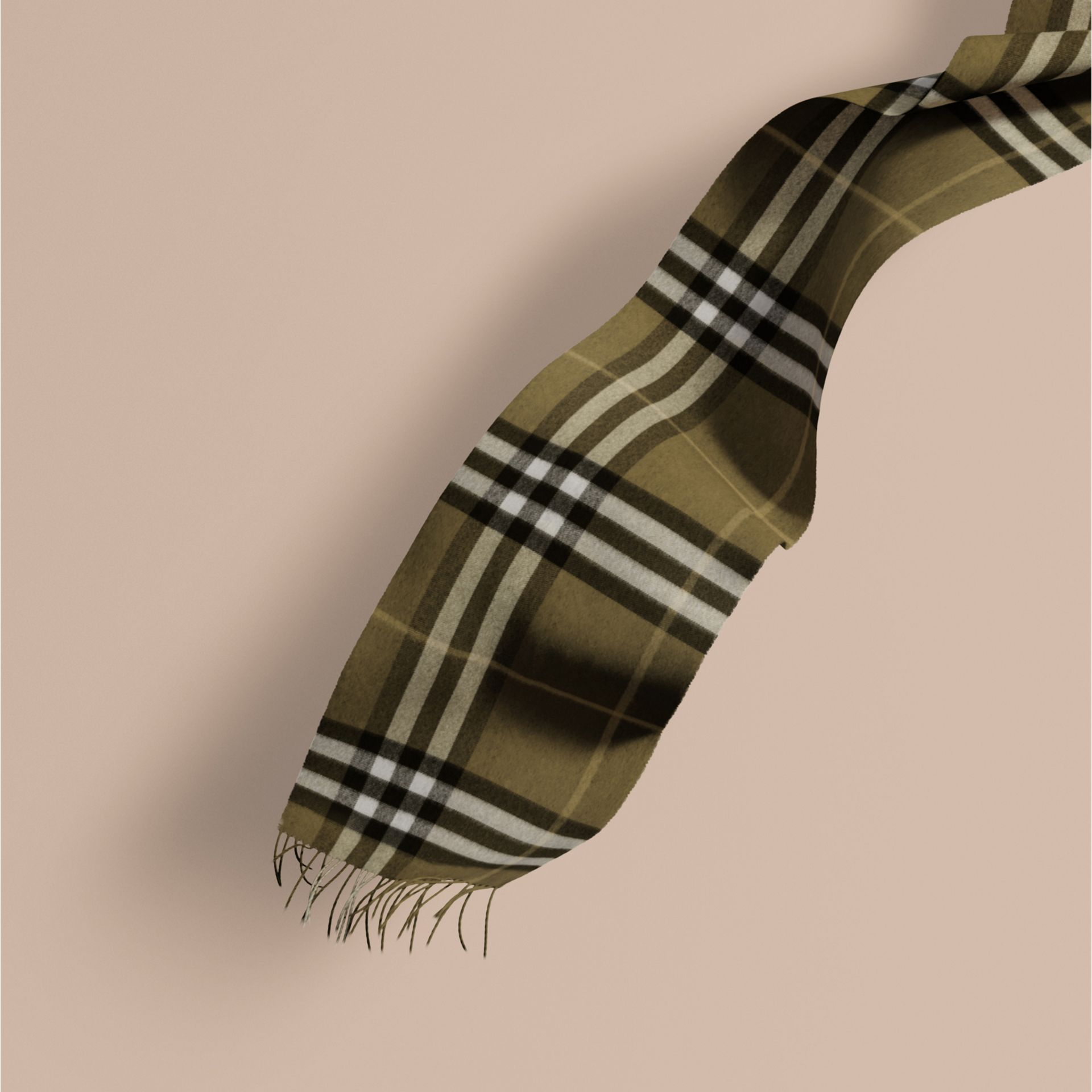 The Classic Cashmere Scarf in Check Olive Green - gallery image 1