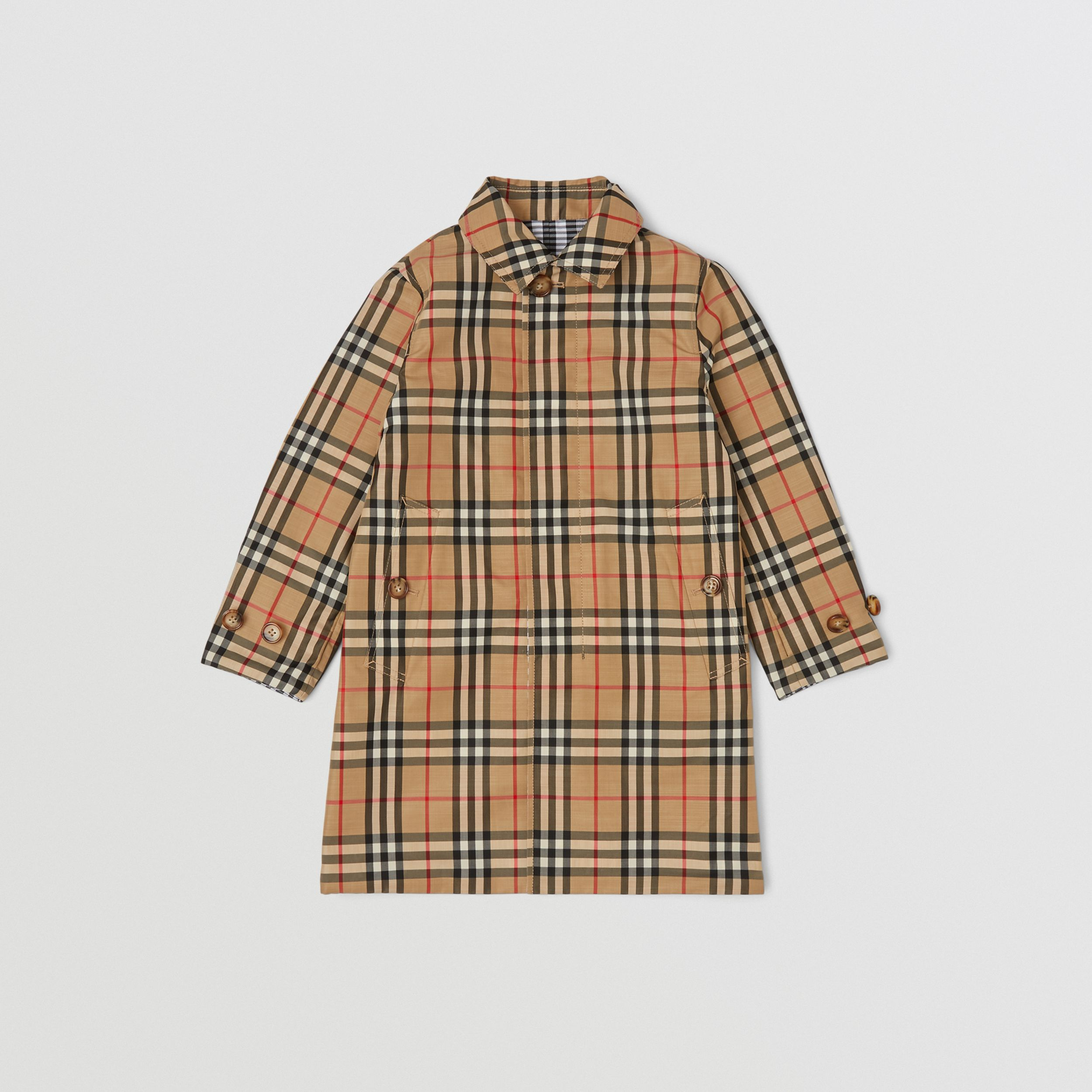 Reversible Check Car Coat in Black | Burberry - 3