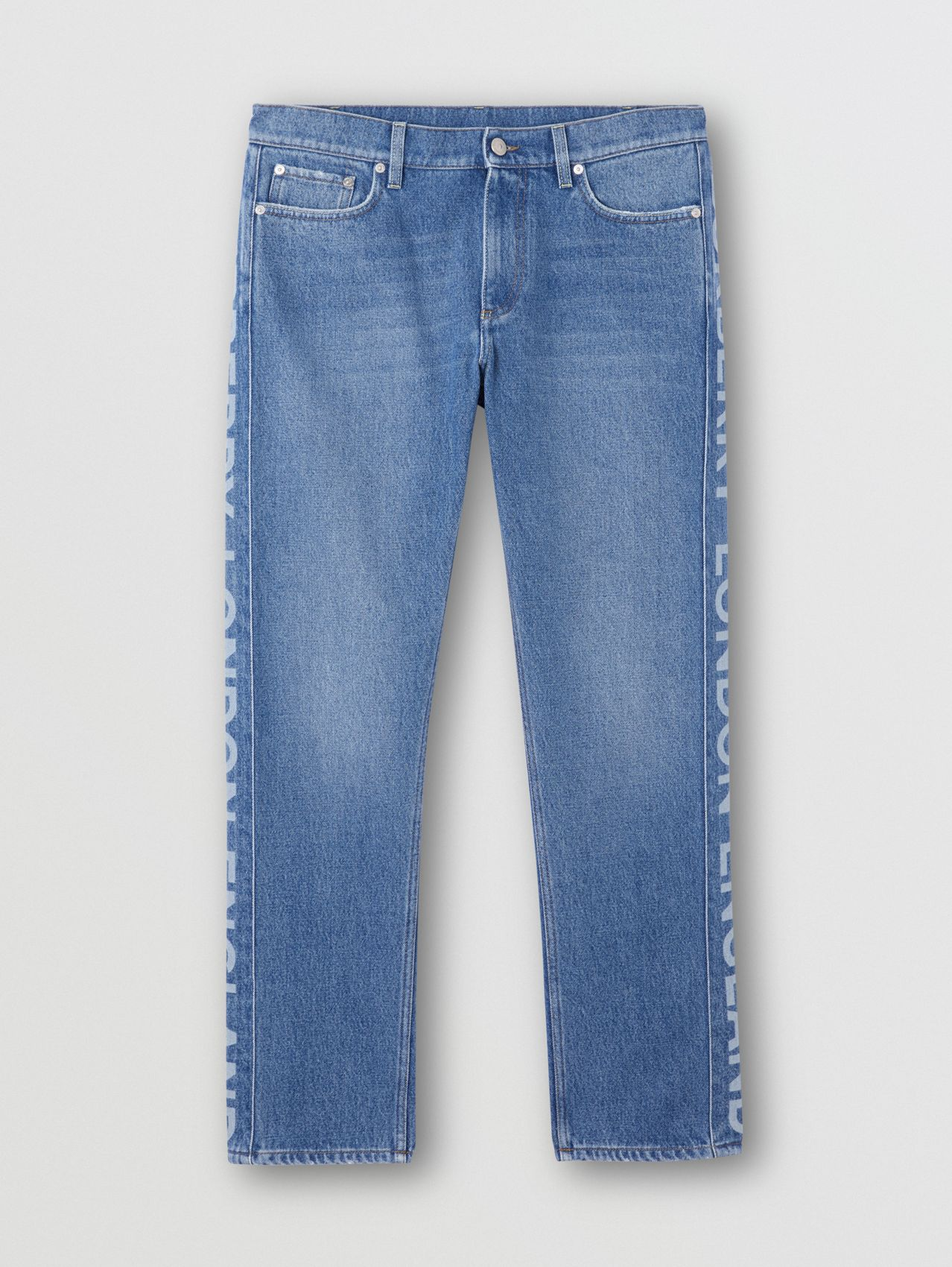 Straight Fit Logo Detail Washed Jeans