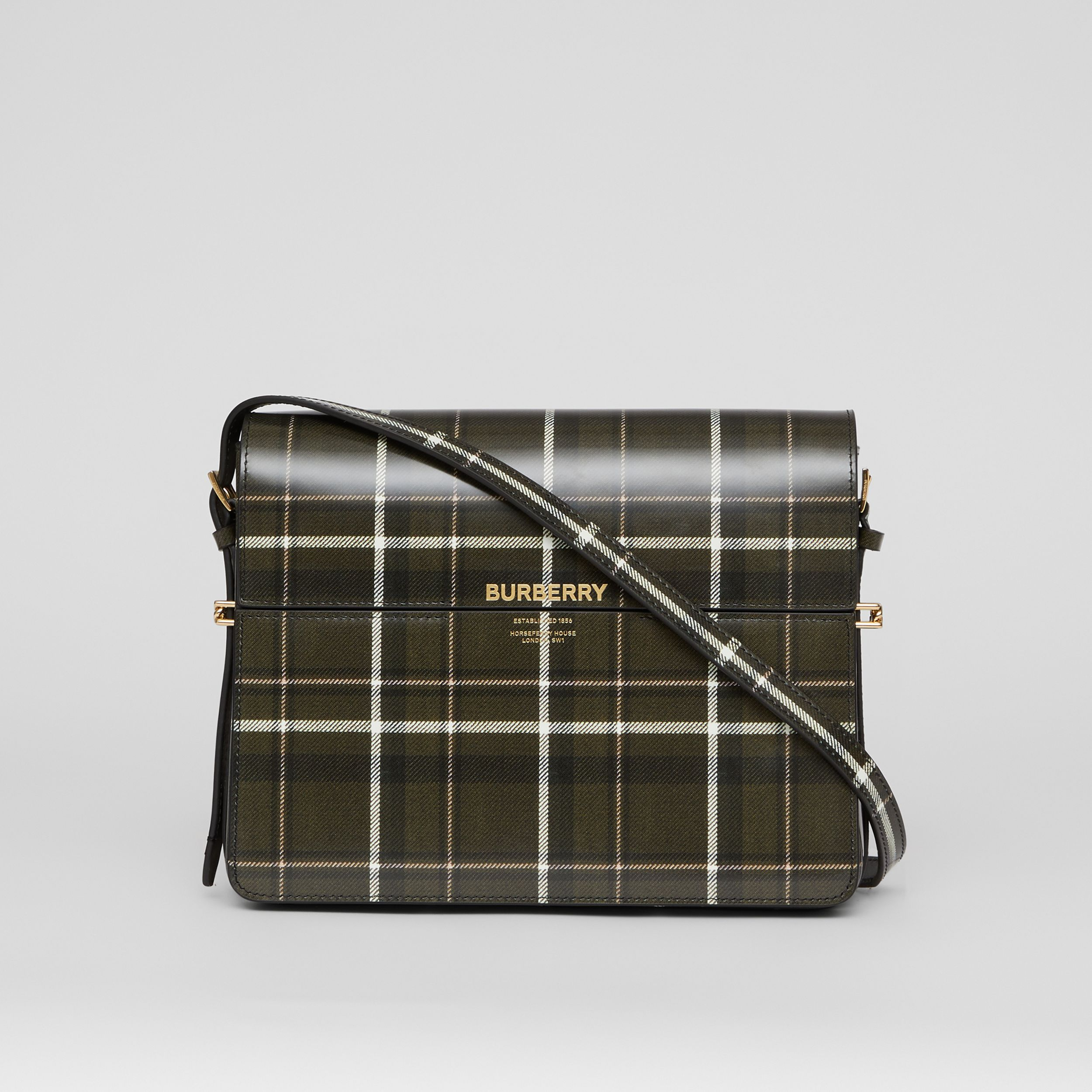 Large Tartan Print Leather Grace Bag in Green/brown - Women | Burberry United States - 1