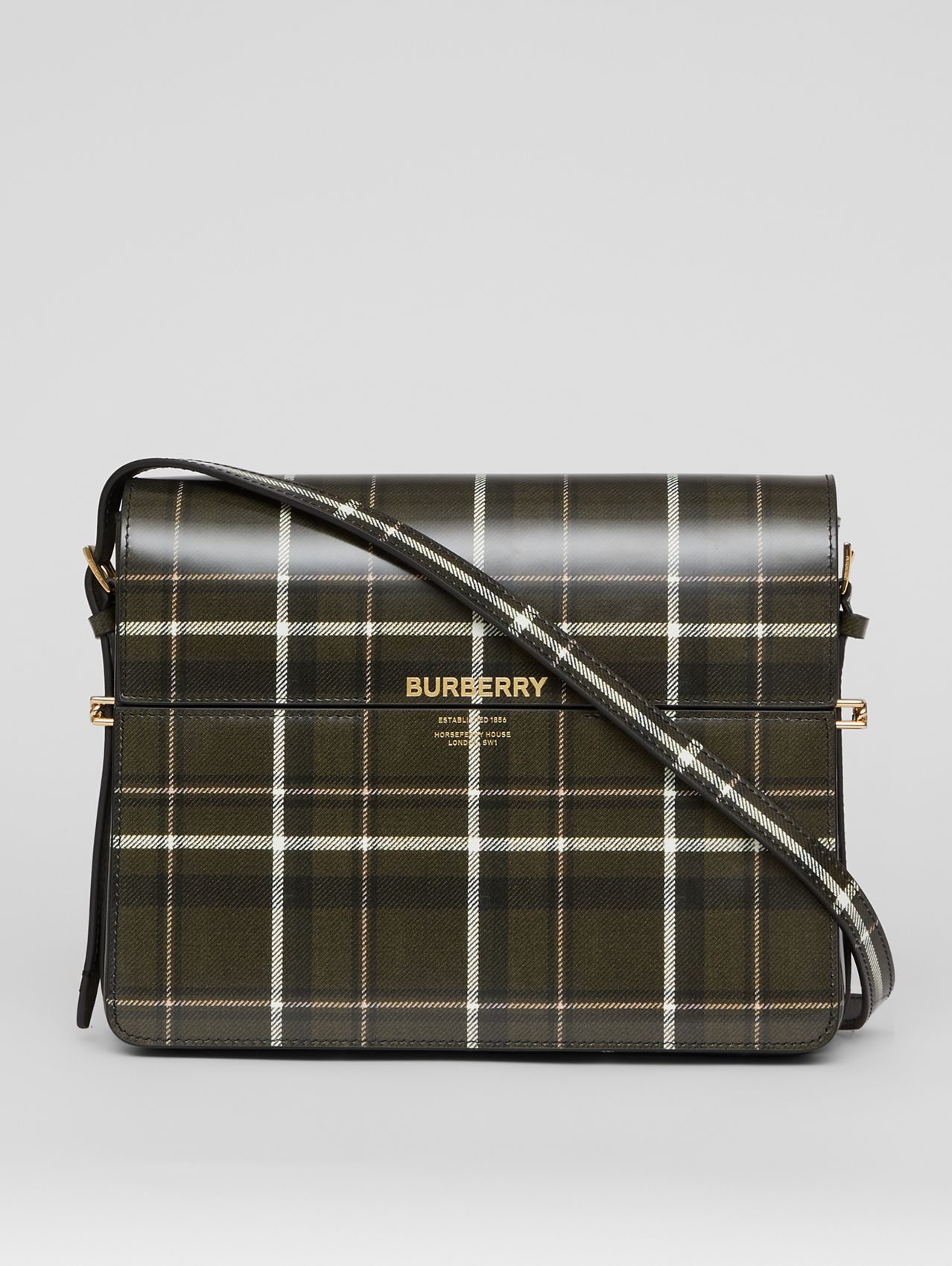 Large Tartan Print Leather Grace Bag in Green/brown