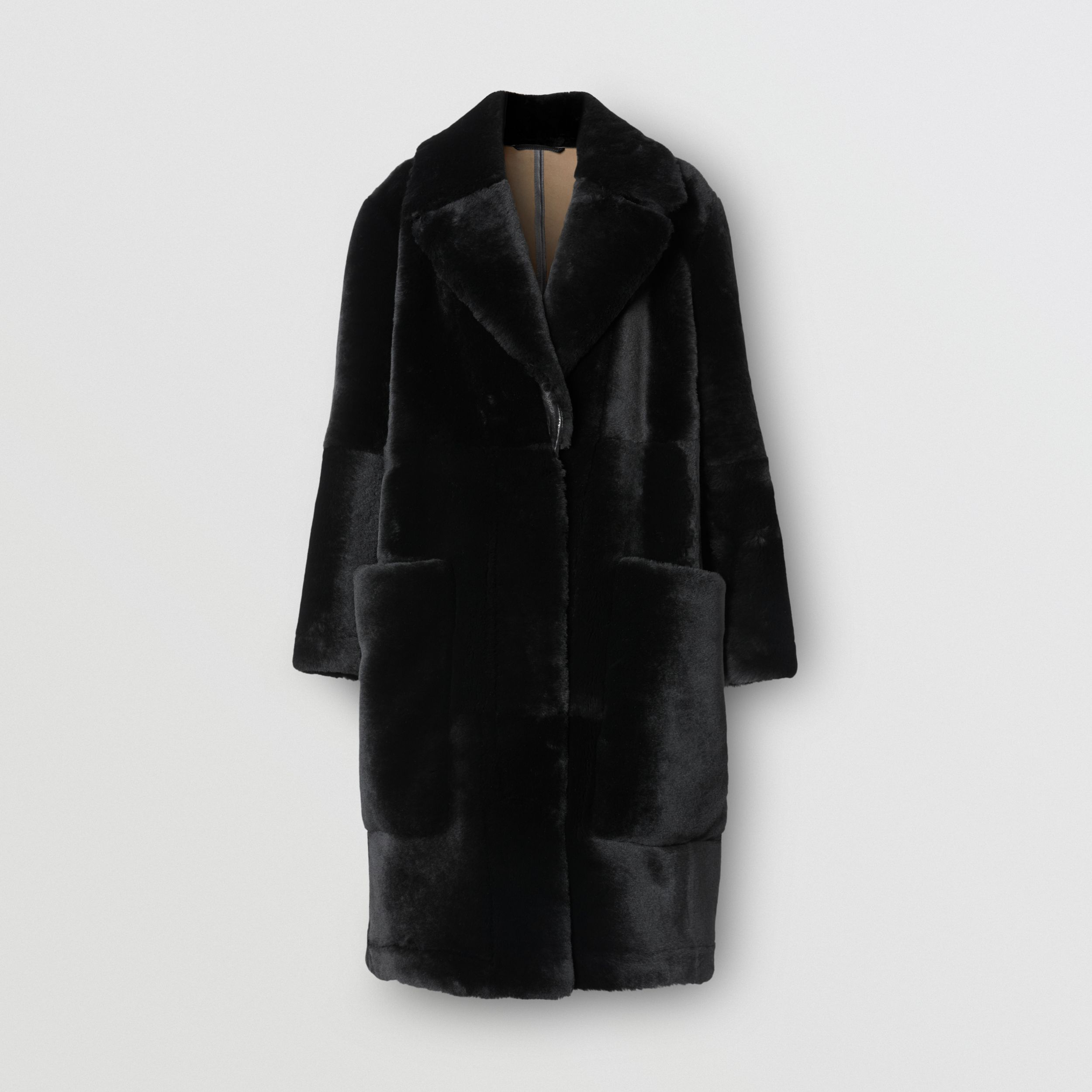 Lambskin Trim Shearling Tailored Coat in Black - Women | Burberry - 4