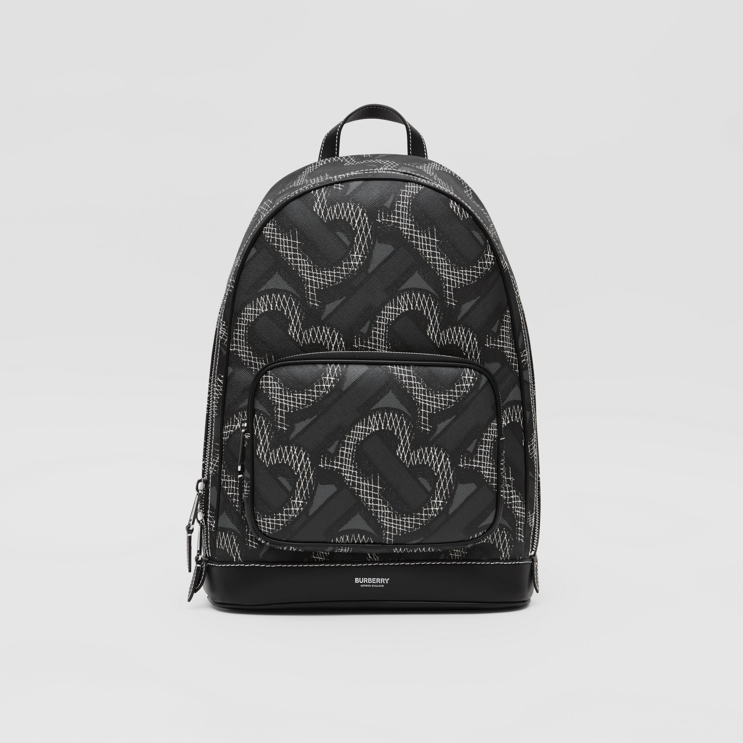 Monogram Print E-canvas Backpack in Graphite | Burberry - 1