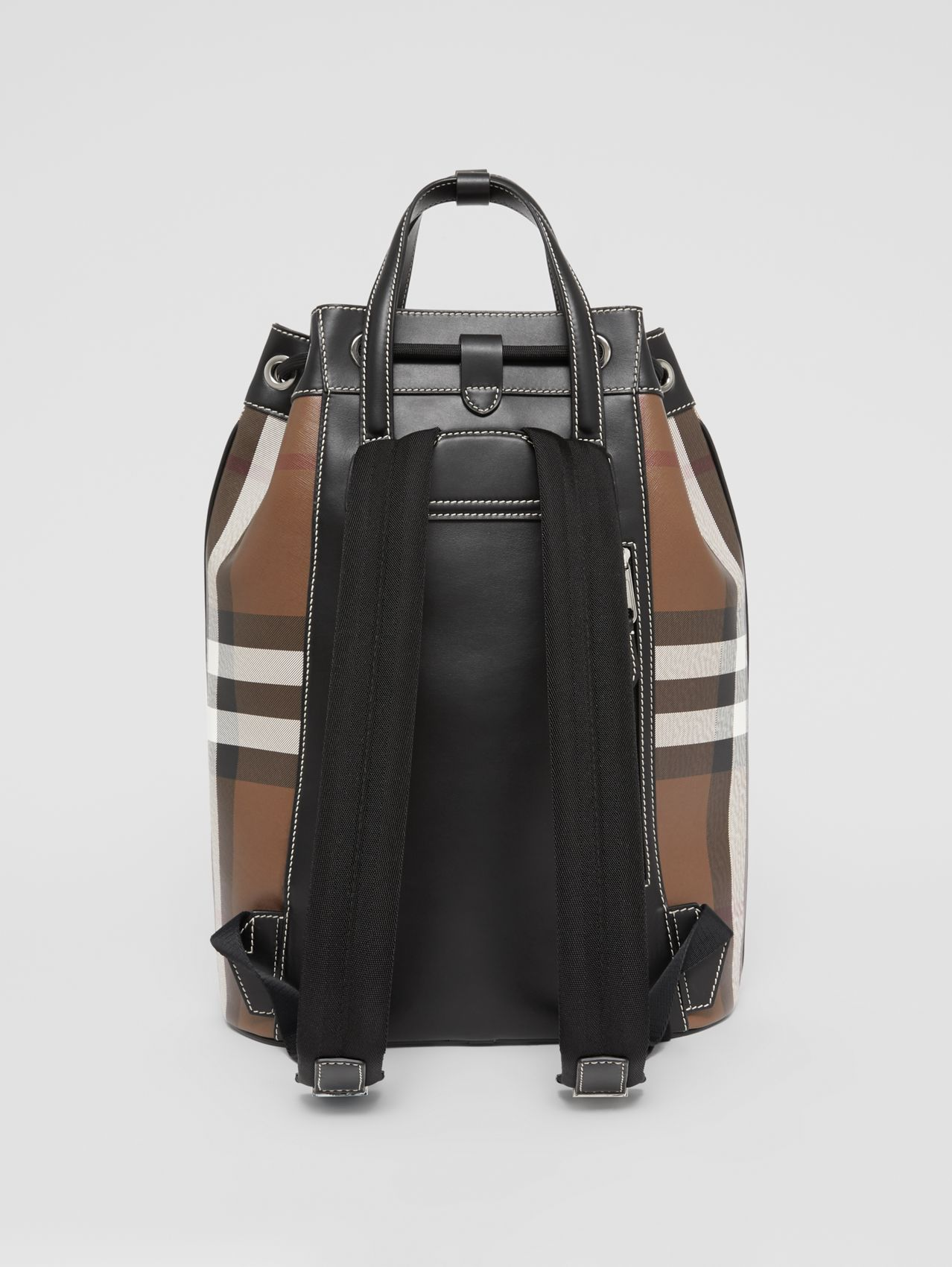 Check Print Leather Drawcord Backpack in Dark Birch Brown