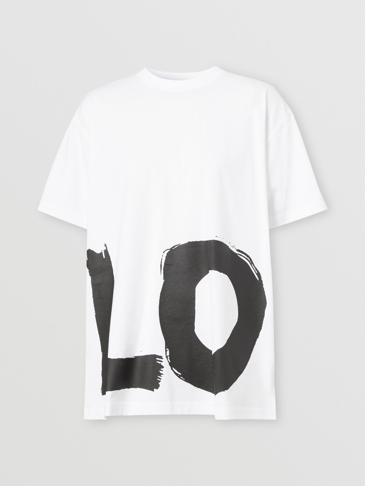 Love Print Cotton Oversized T-shirt in White