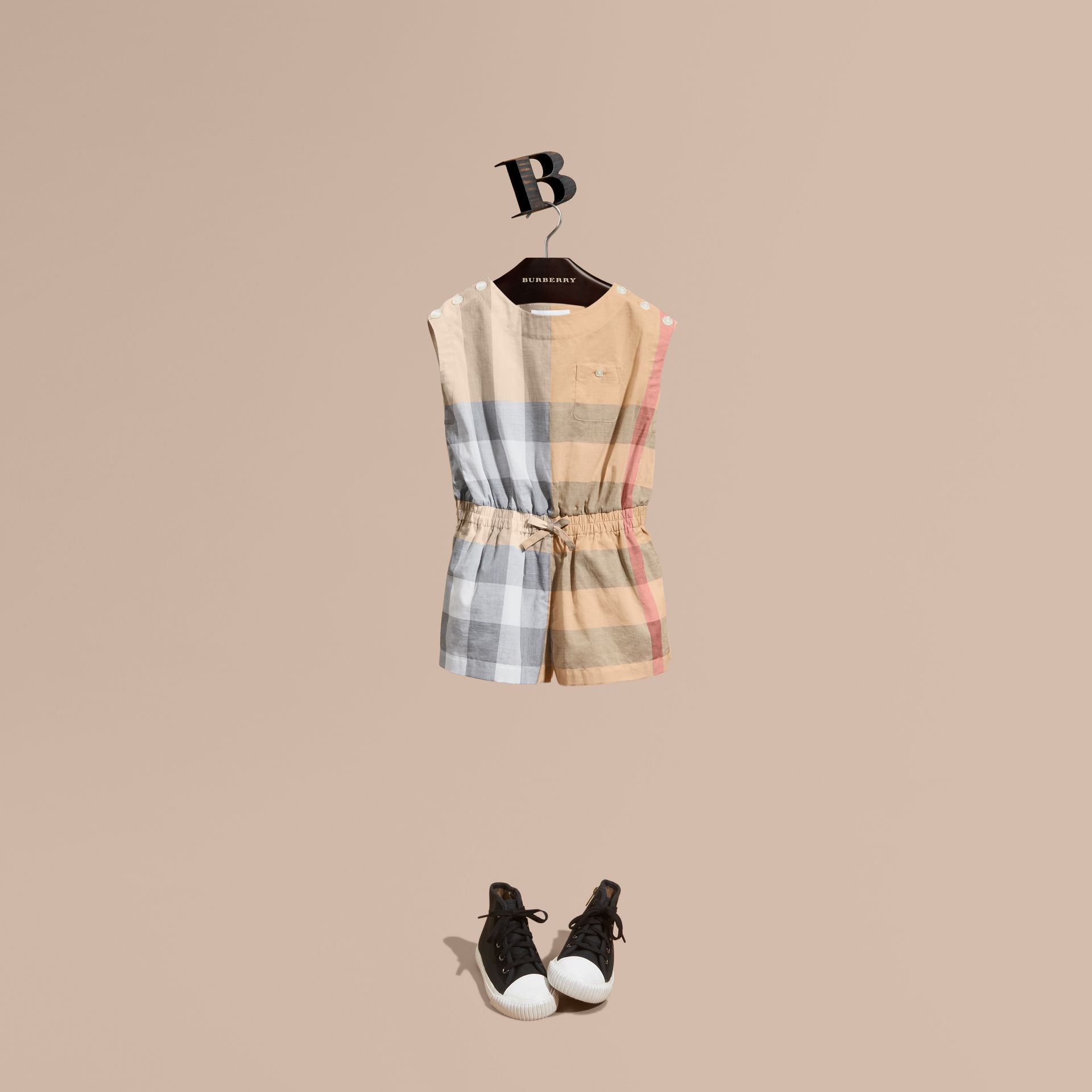 Check Cotton Playsuit in Pale Stone - Girl | Burberry - gallery image 1