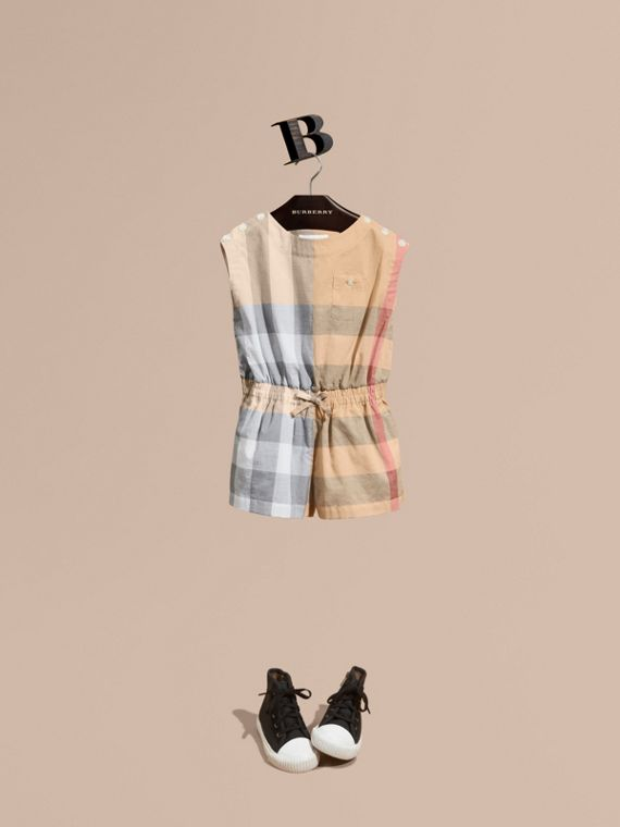 Check Cotton Playsuit in Pale Stone - Girl | Burberry