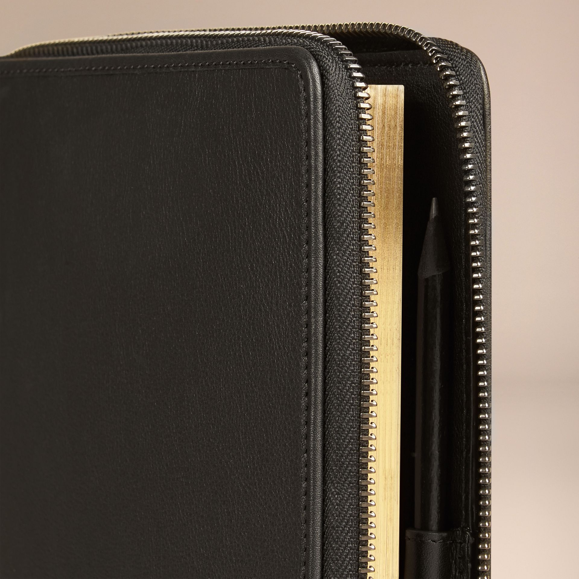 Black Ziparound Leather and Horseferry Check Detail A5 Notebook - gallery image 2