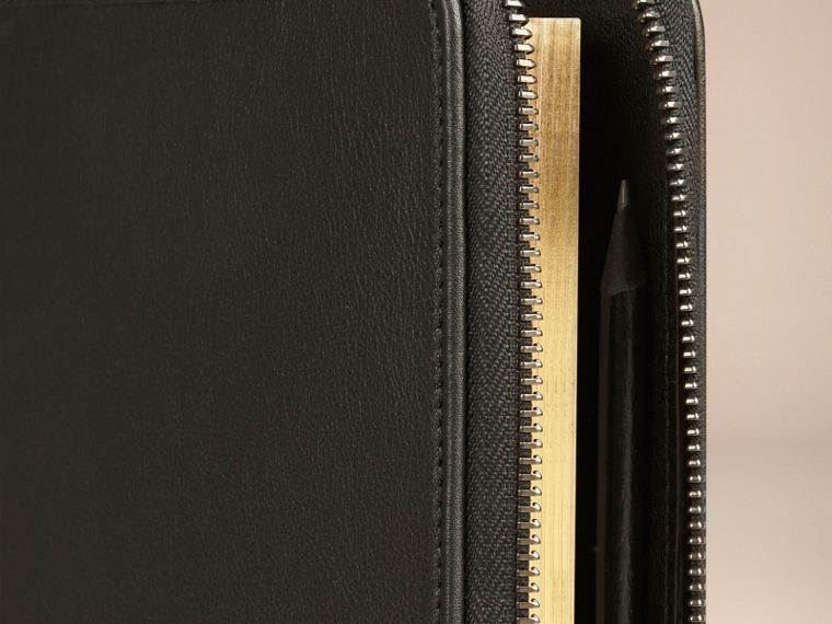 Black Ziparound Leather and Horseferry Check Detail A5 Notebook - cell image 1
