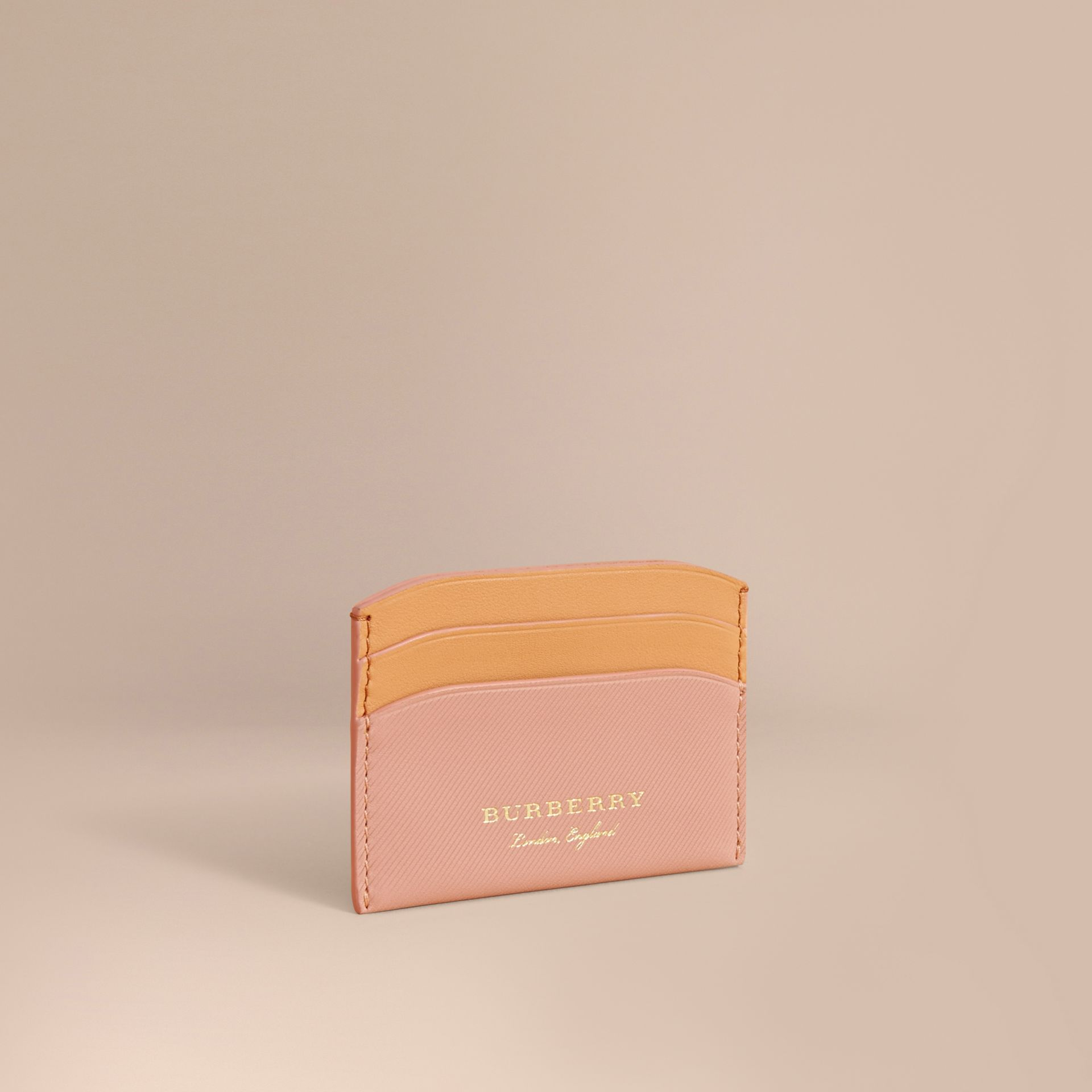 Two-tone Trench Leather Card Case in Ash Rose/pl Clemn - Women | Burberry United Kingdom - gallery image 0