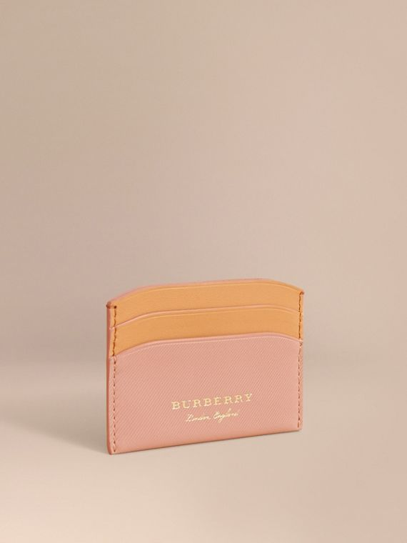 Two-tone Trench Leather Card Case in Ash Rose/pl Clemn