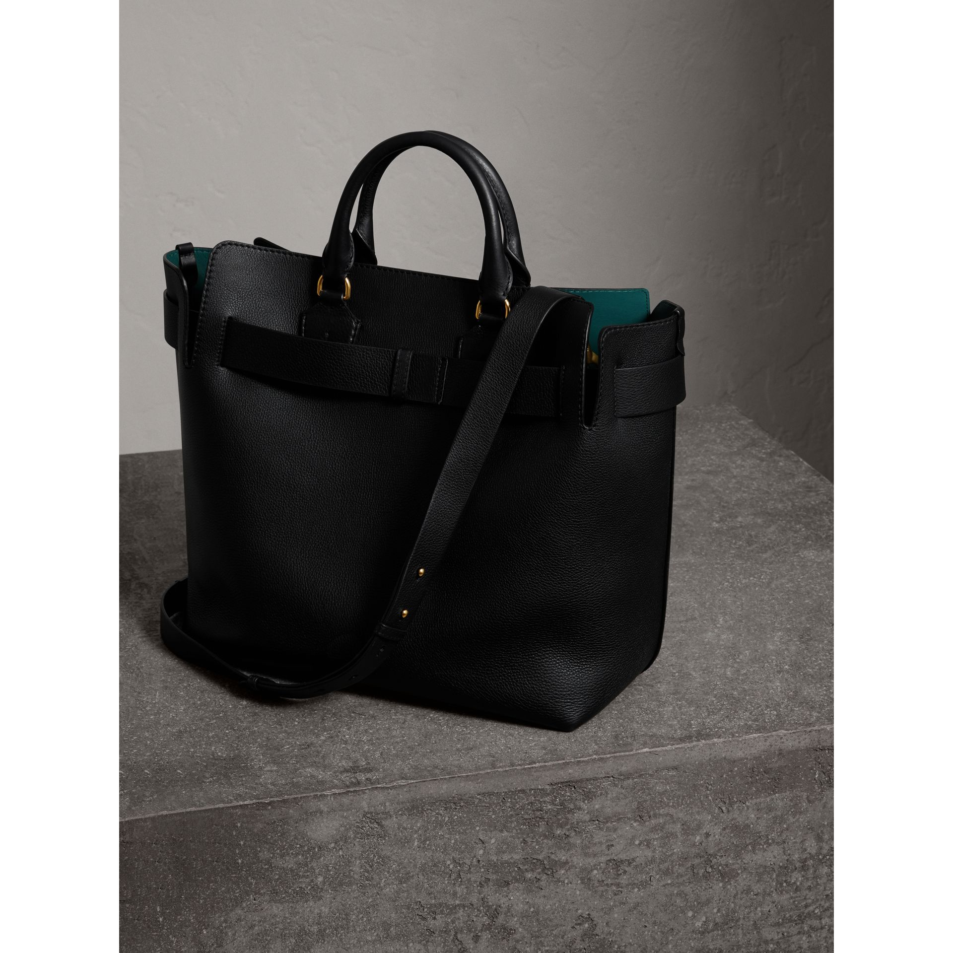 The Large Leather Belt Bag in Black/yellow | Burberry United States - gallery image 5